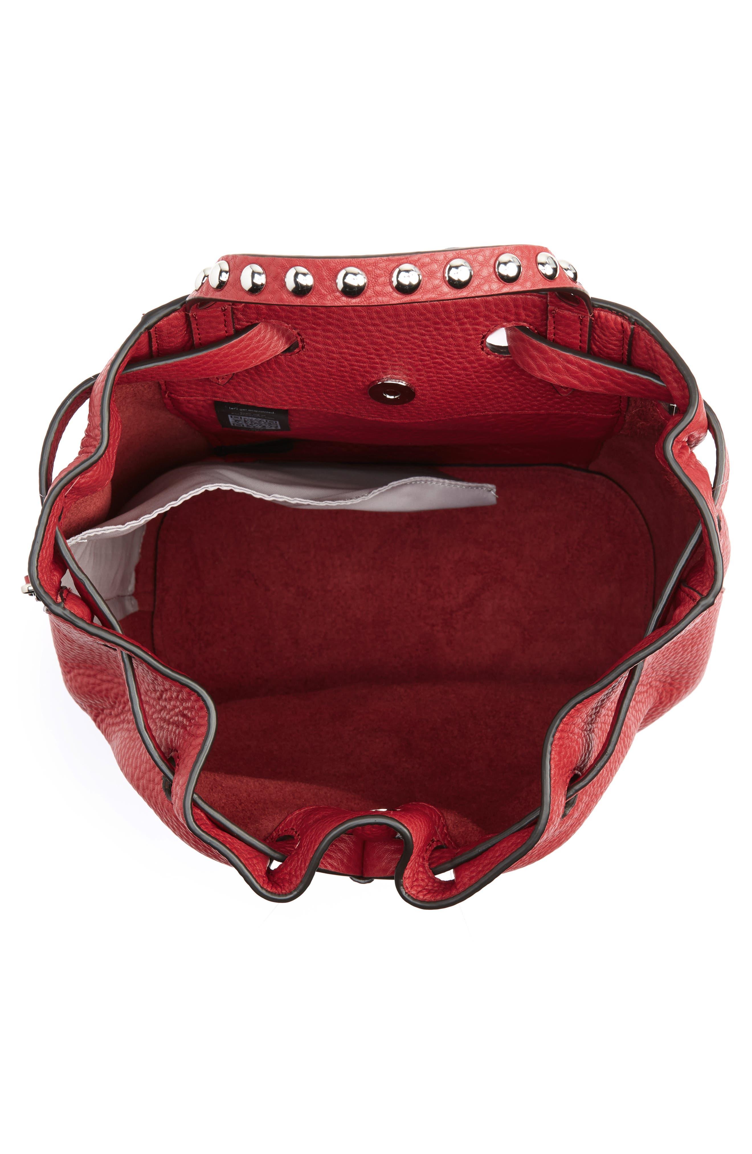 Blythe Leather Backpack,                             Alternate thumbnail 4, color,                             SCARLET
