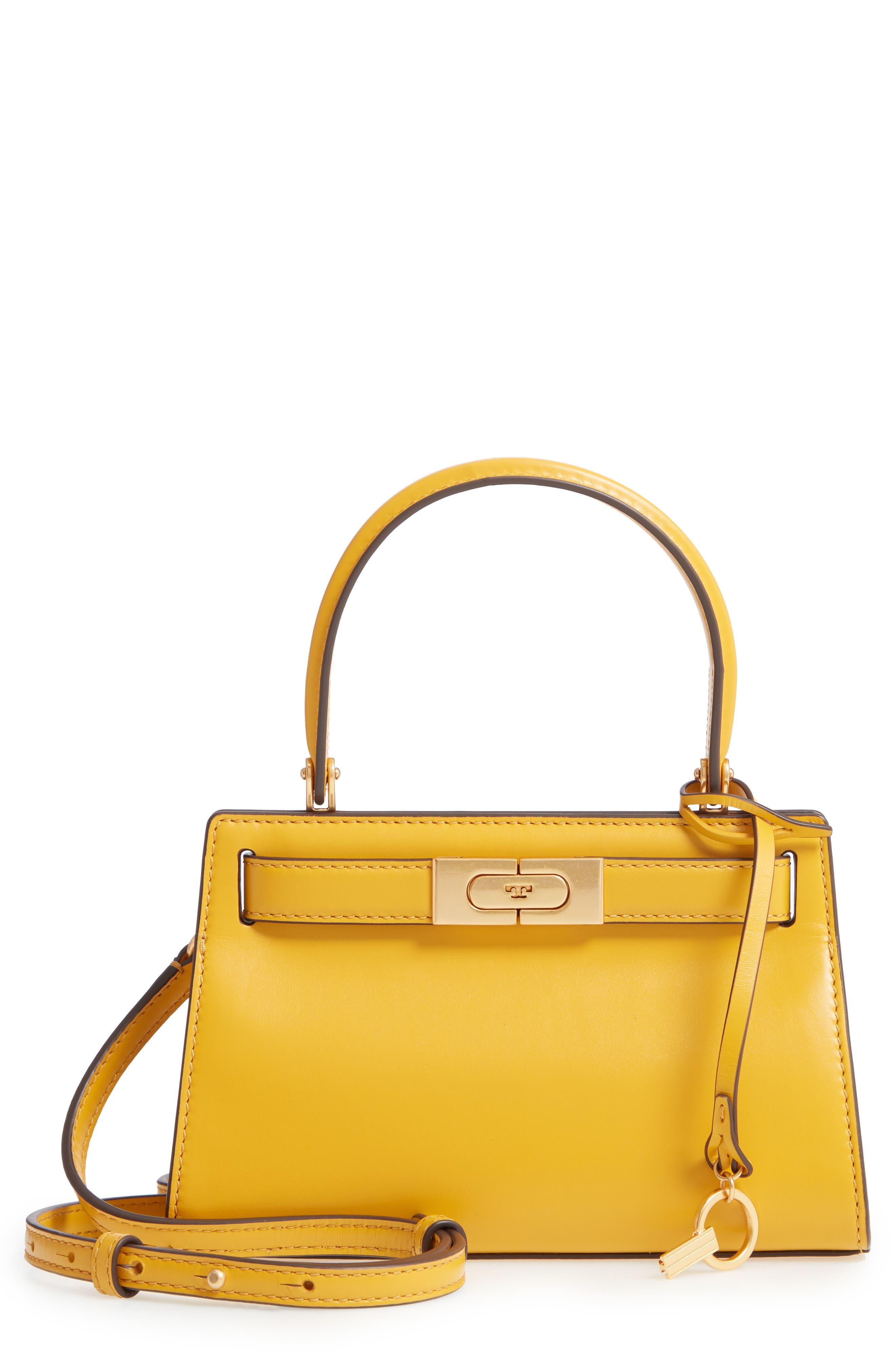 TORY BURCH Mini Lee Radziwill Leather Bag, Main, color, DAYLILY