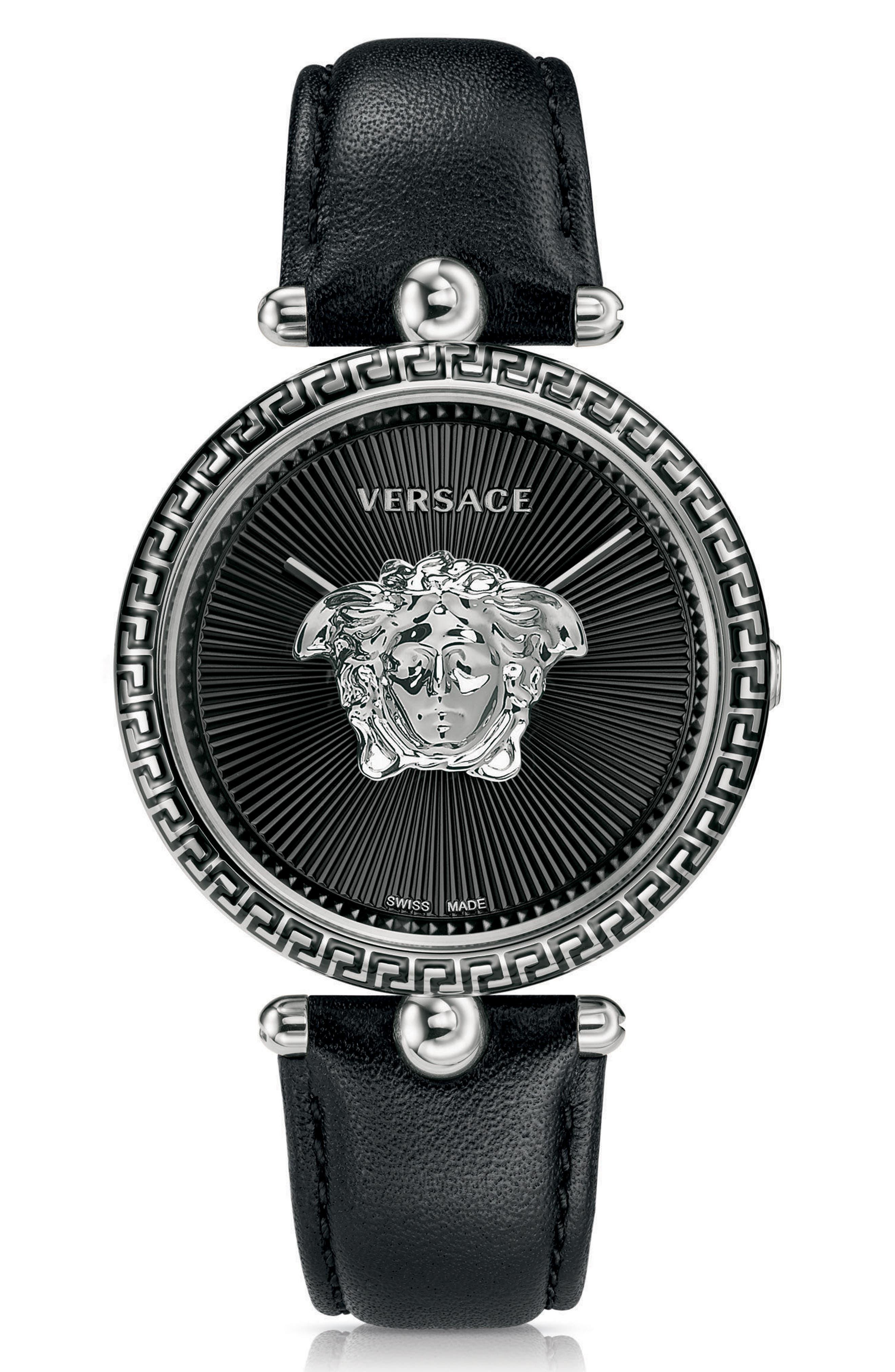Palazzo Empire Leather Strap Watch, 39mm,                         Main,                         color, BLACK/ SILVER