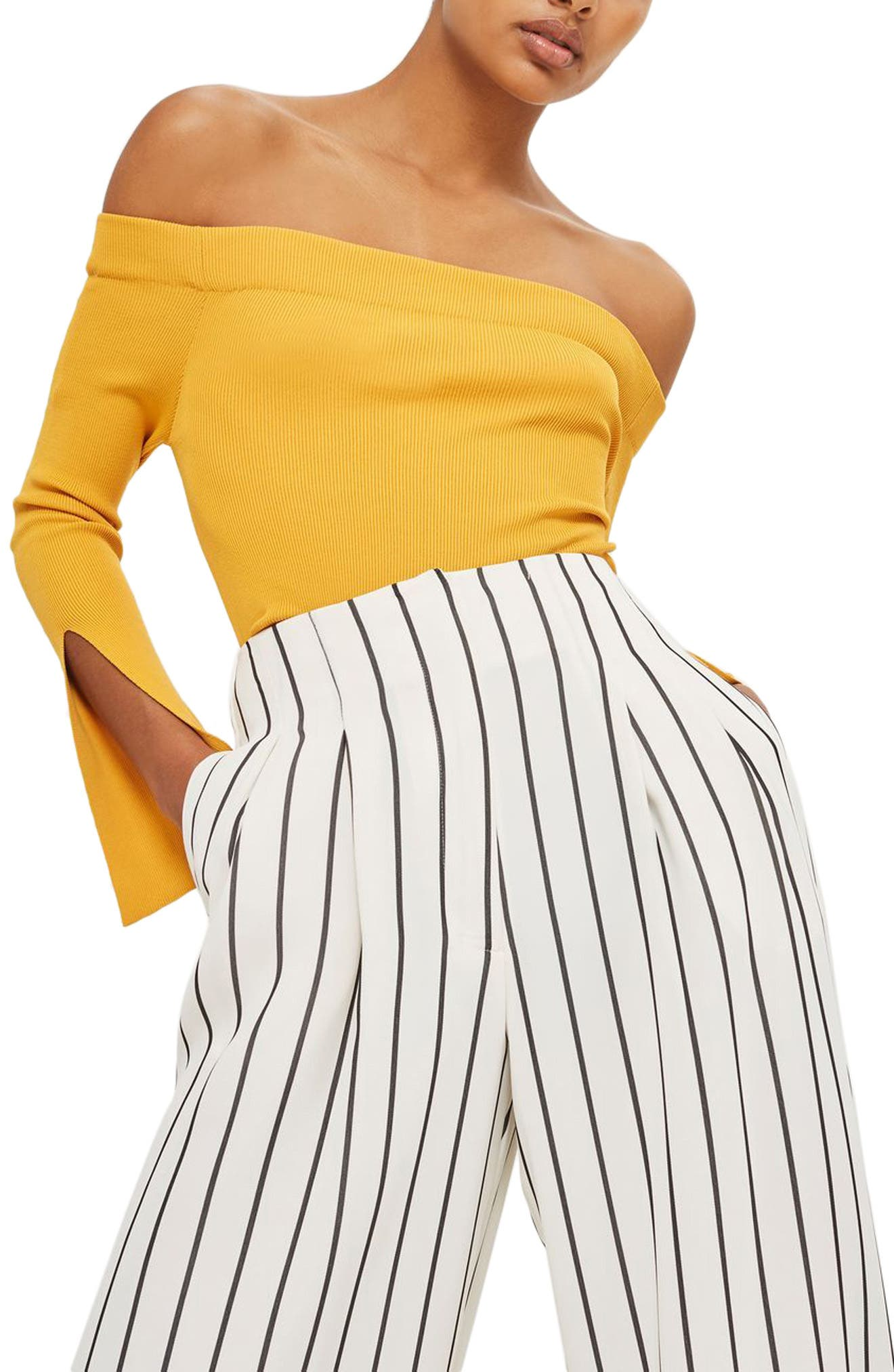 Stripe Crop Wide Leg Trousers,                             Alternate thumbnail 3, color,                             001