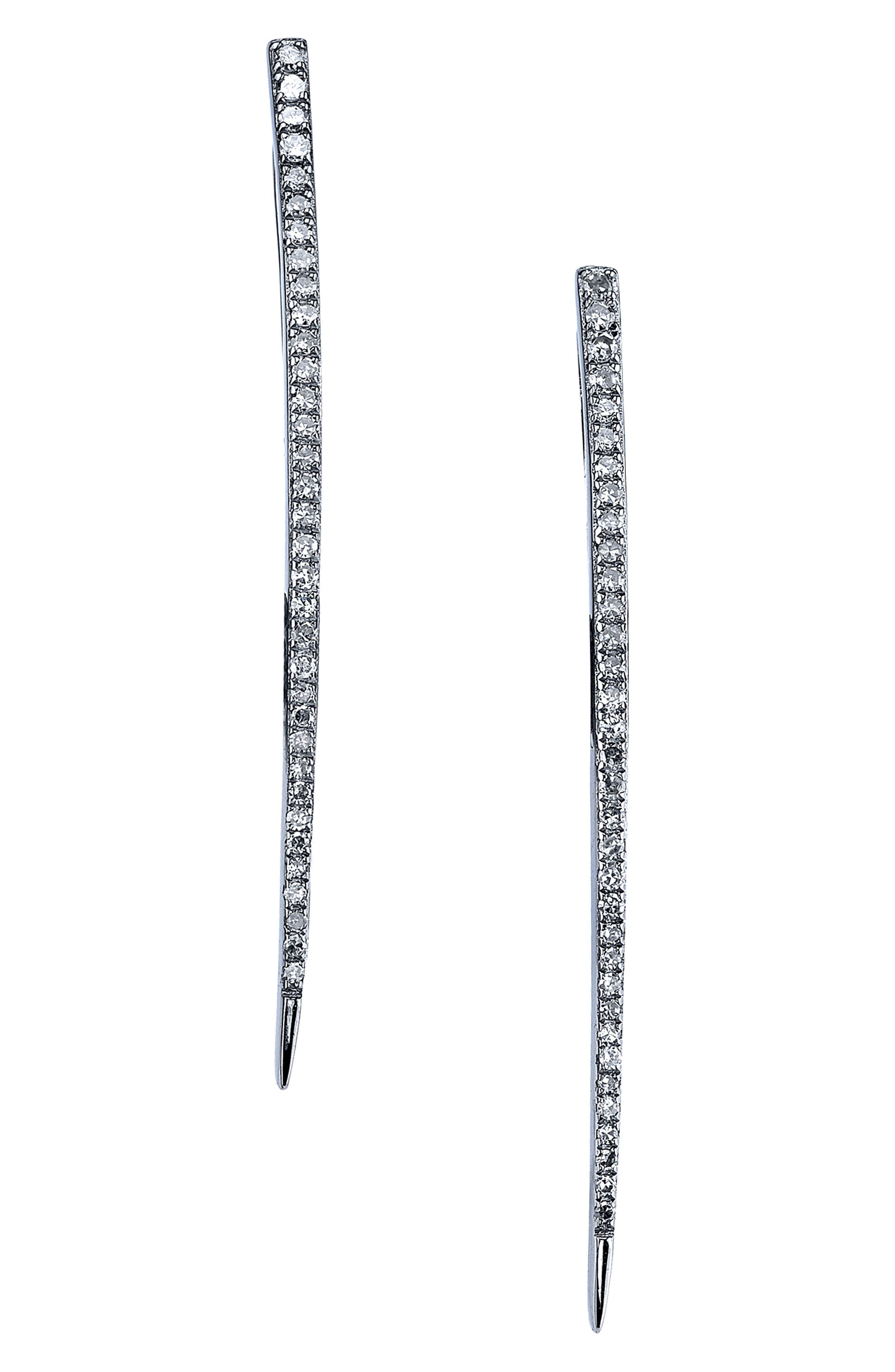 Diamond Dagger Earrings in Sterling Silver