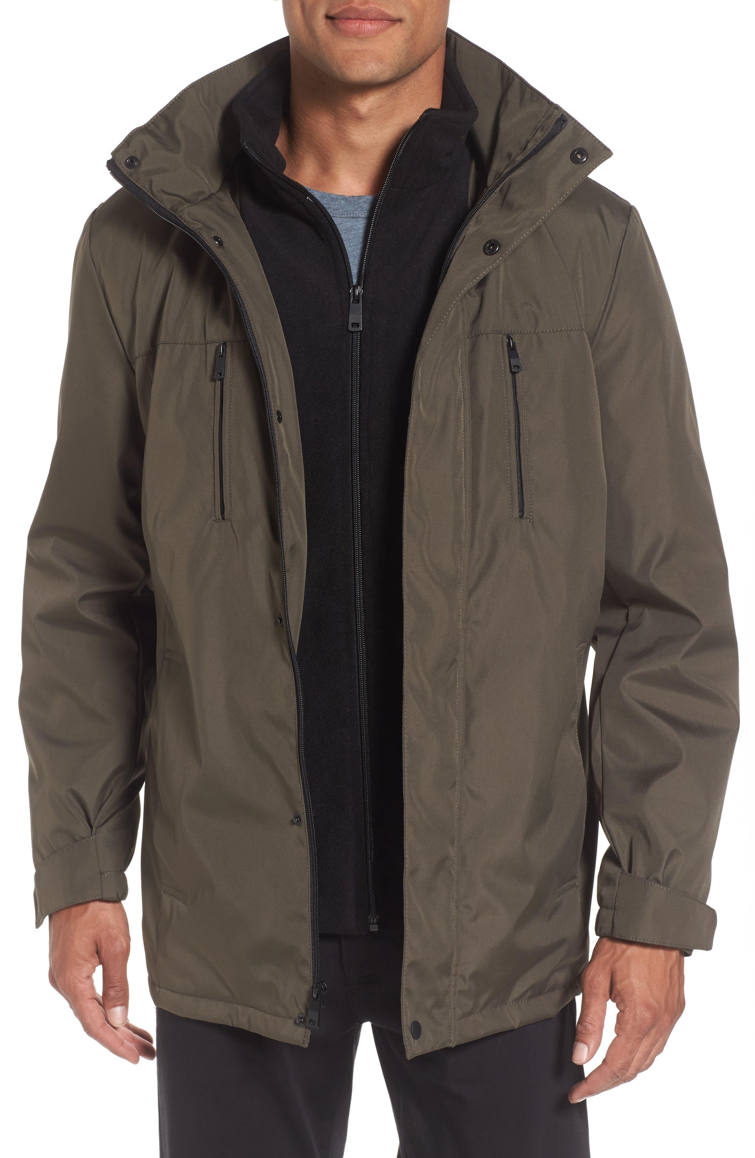 Hooded Jacket with Inset Fleece Bib,                             Main thumbnail 3, color,
