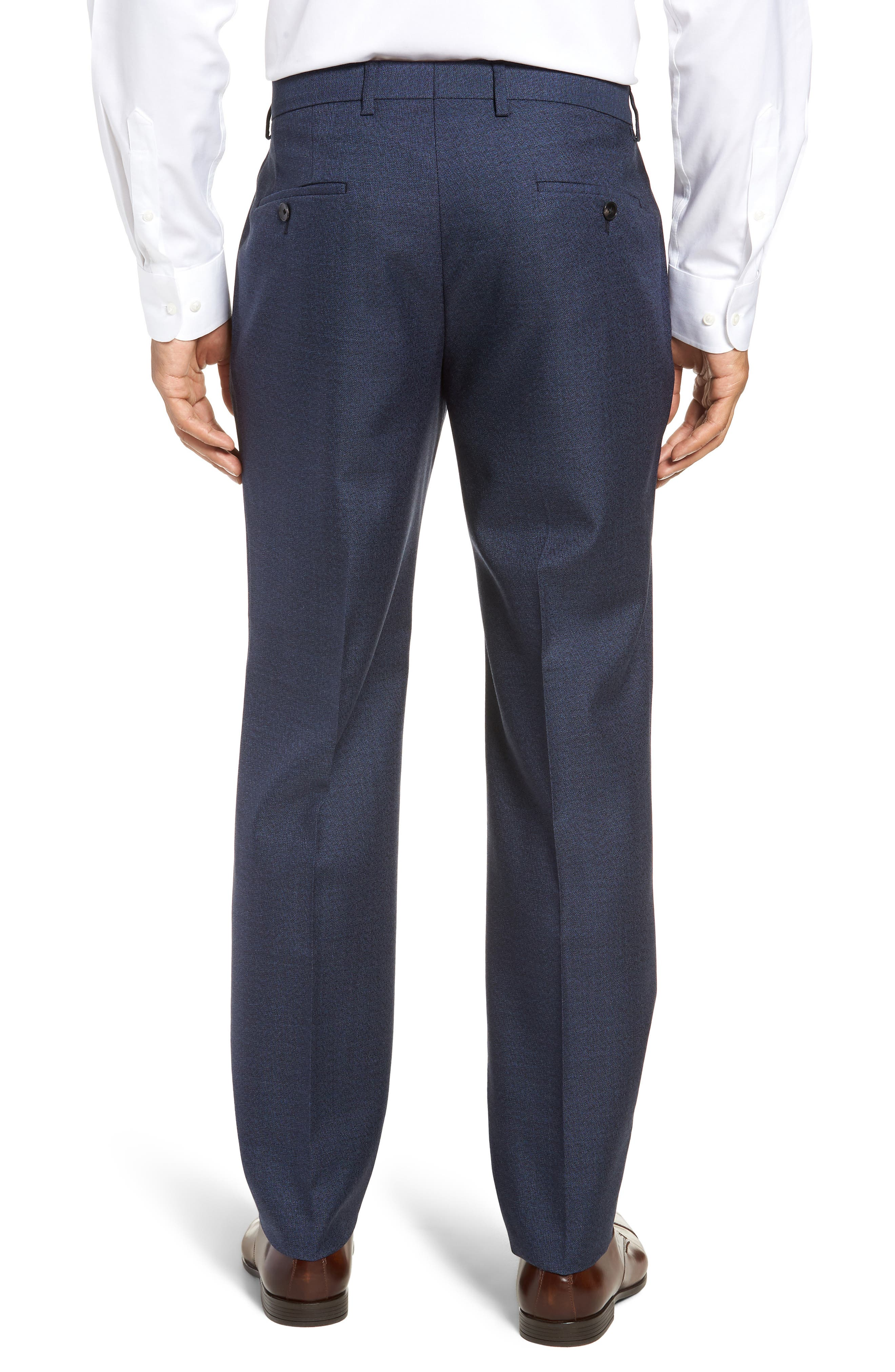 Genesis Flat Front Solid Wool Trousers,                             Alternate thumbnail 2, color,                             OPEN BLUE