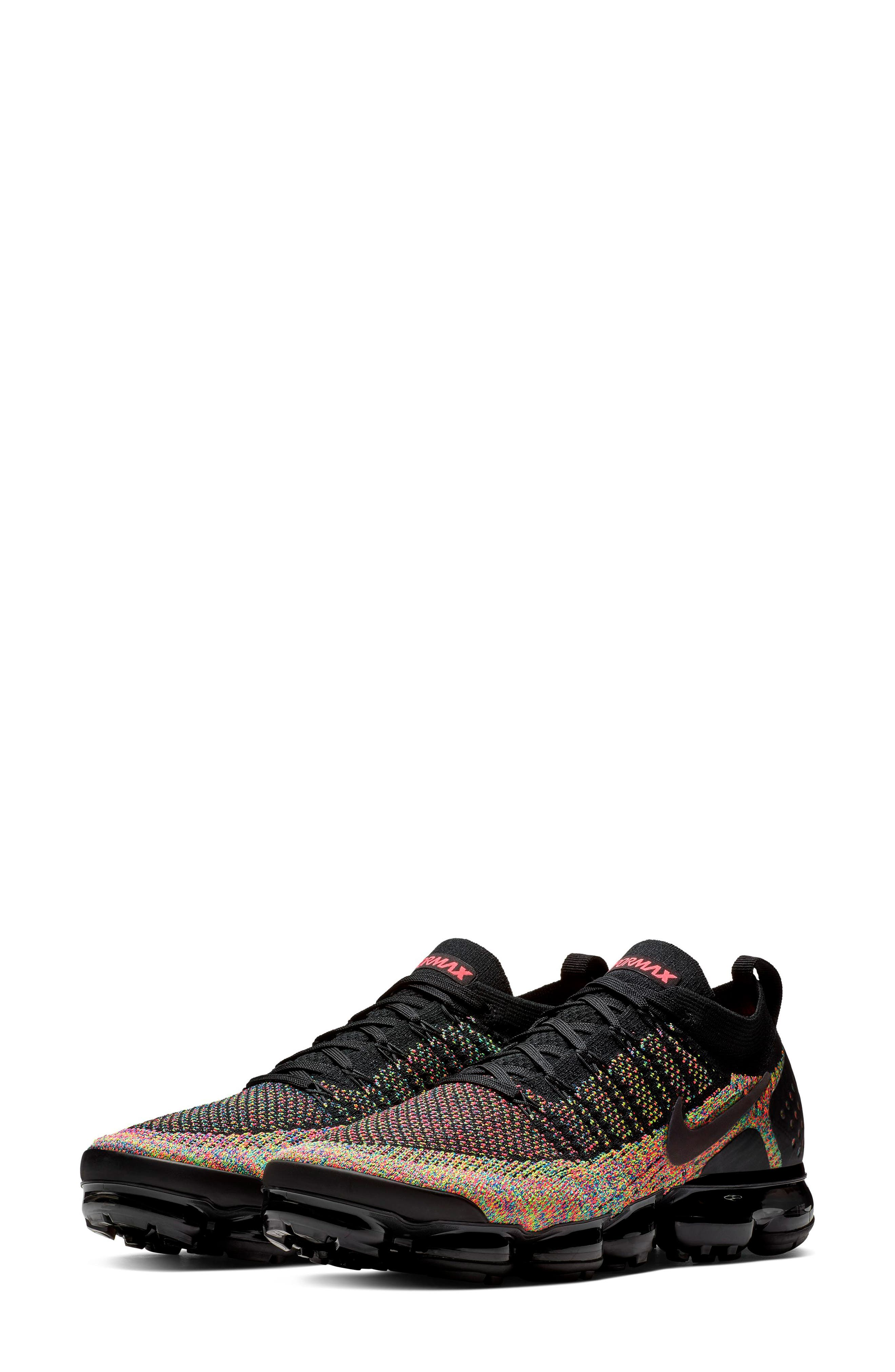 Air VaporMax Flyknit 2 Running Shoe, Main, color, BLACK/ BLACK/ RACER PINK/ BLUE