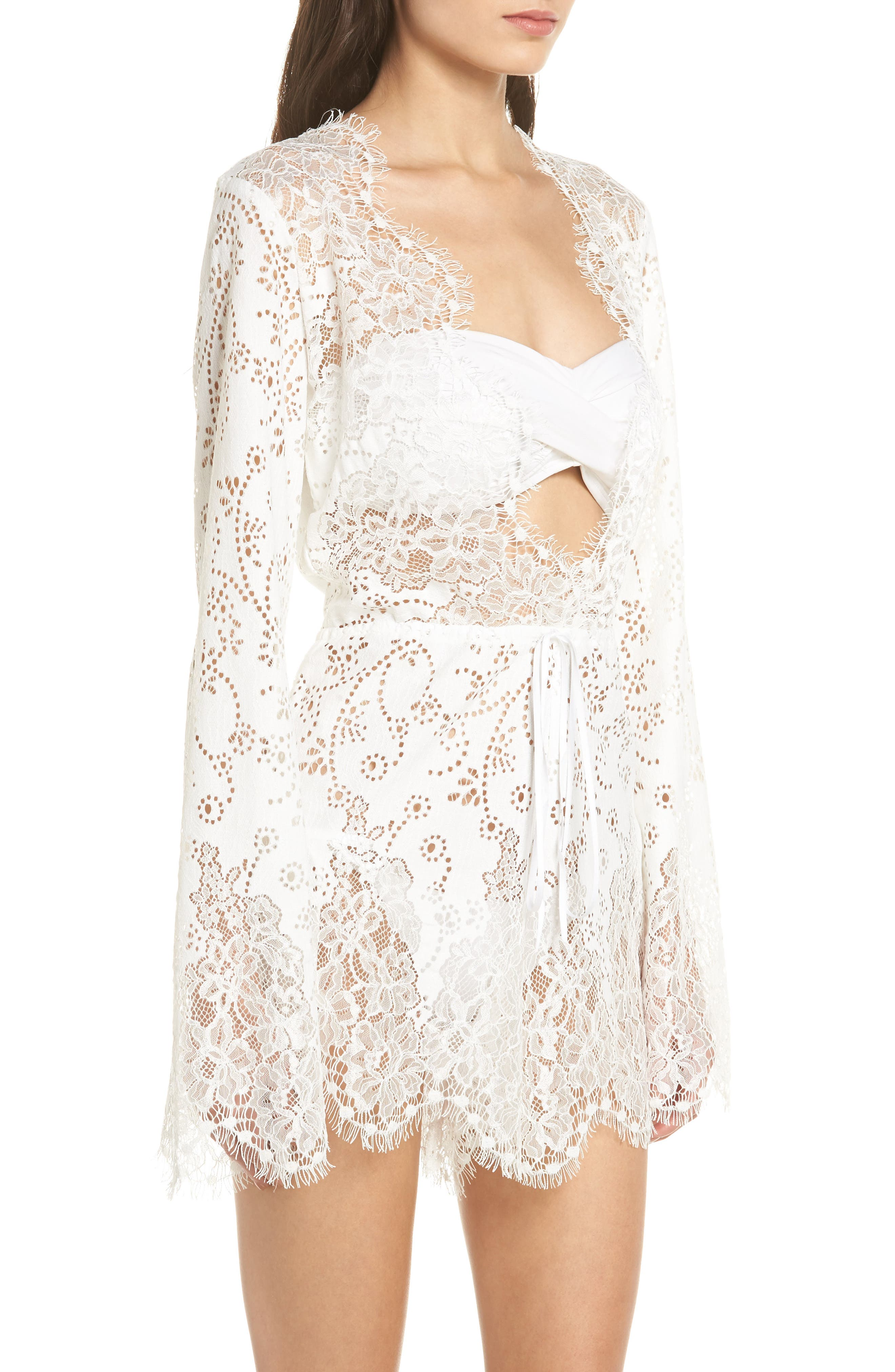 Olympia Lace Cover-Up Romper,                             Alternate thumbnail 6, color,