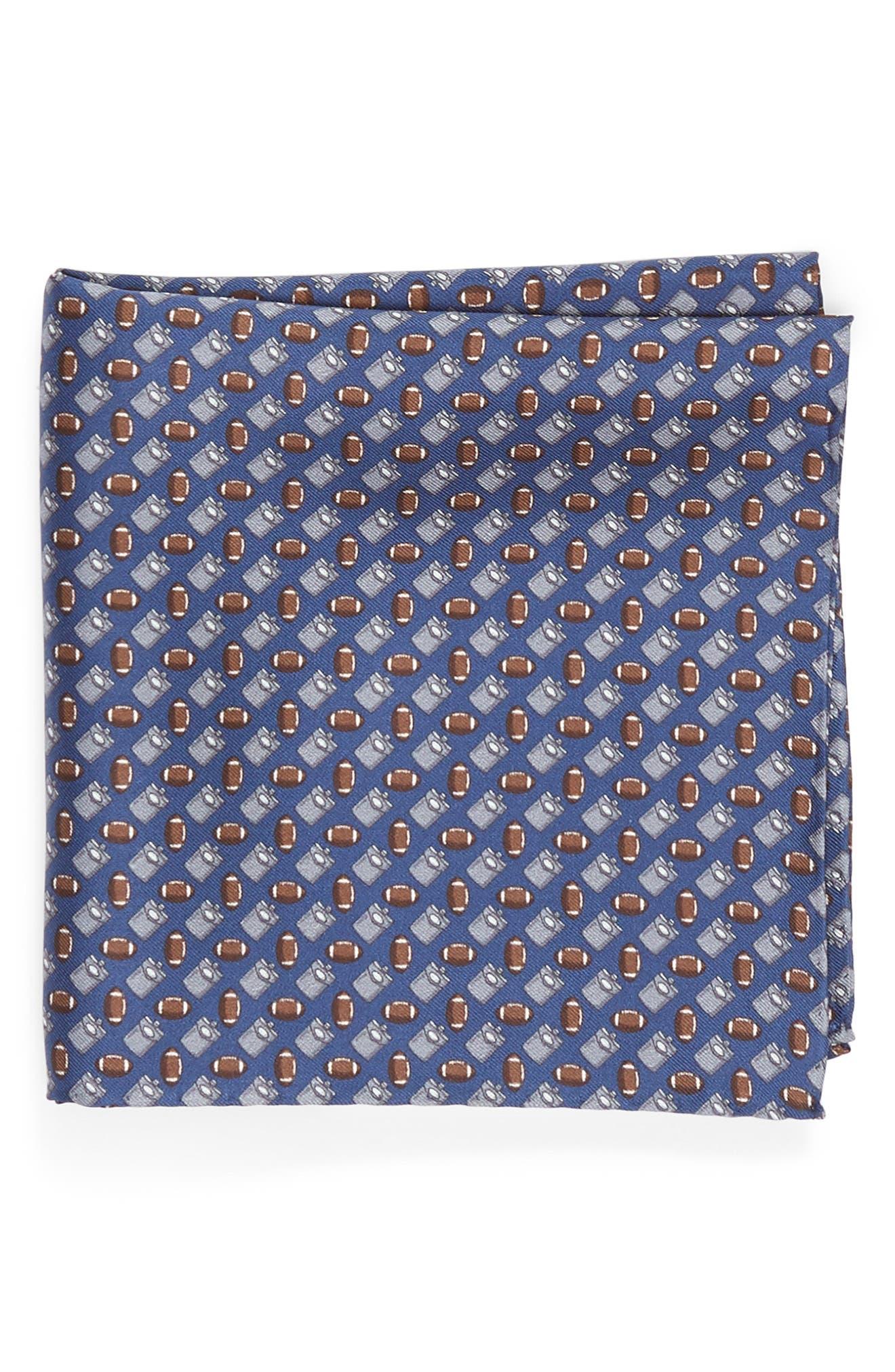 LAZYJACK PRESS,                             Tailgating Silk Pocket Square,                             Main thumbnail 1, color,                             410