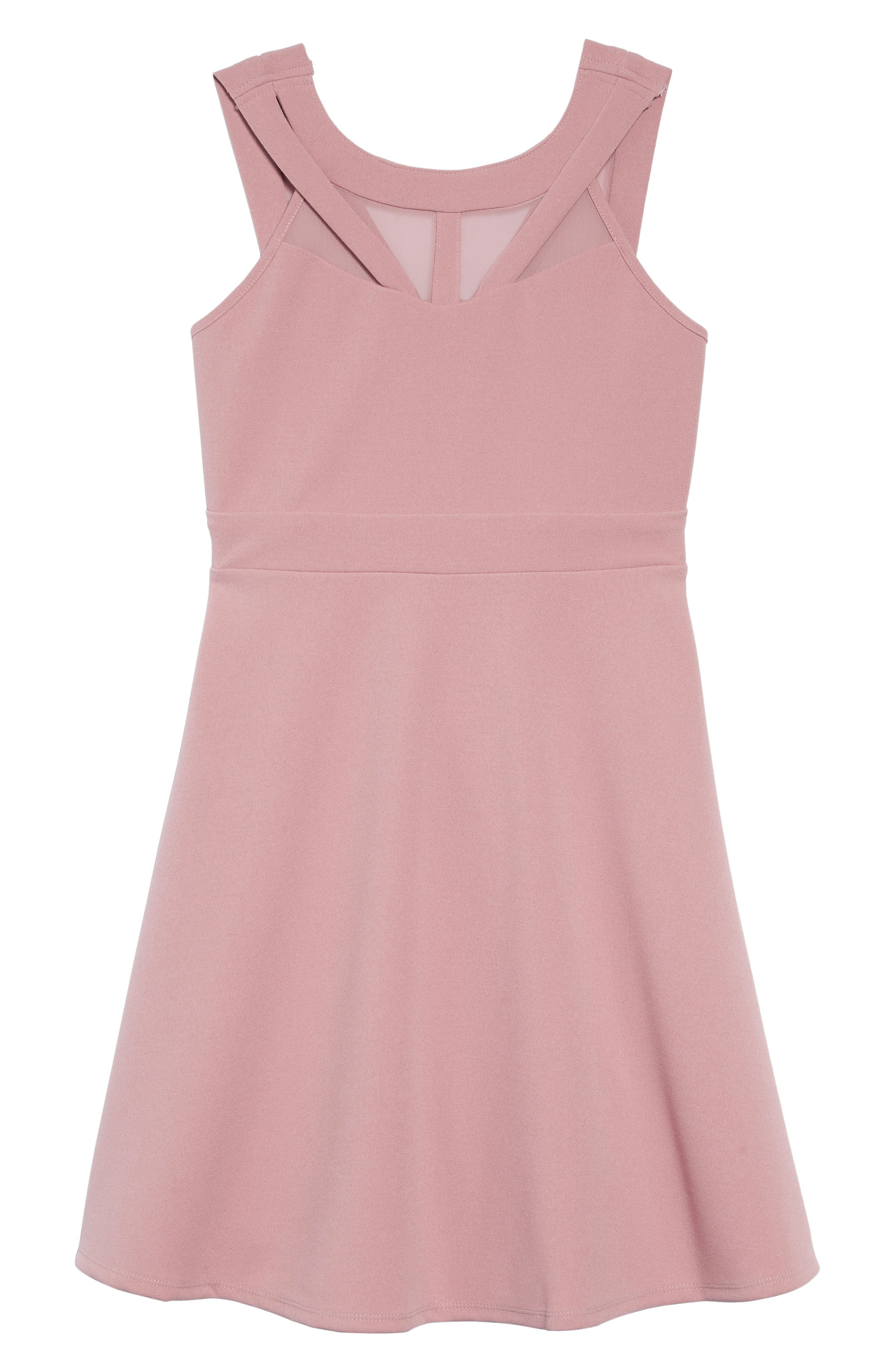 Mesh Cutout Fit & Flare Dress,                             Main thumbnail 1, color,                             ROSE