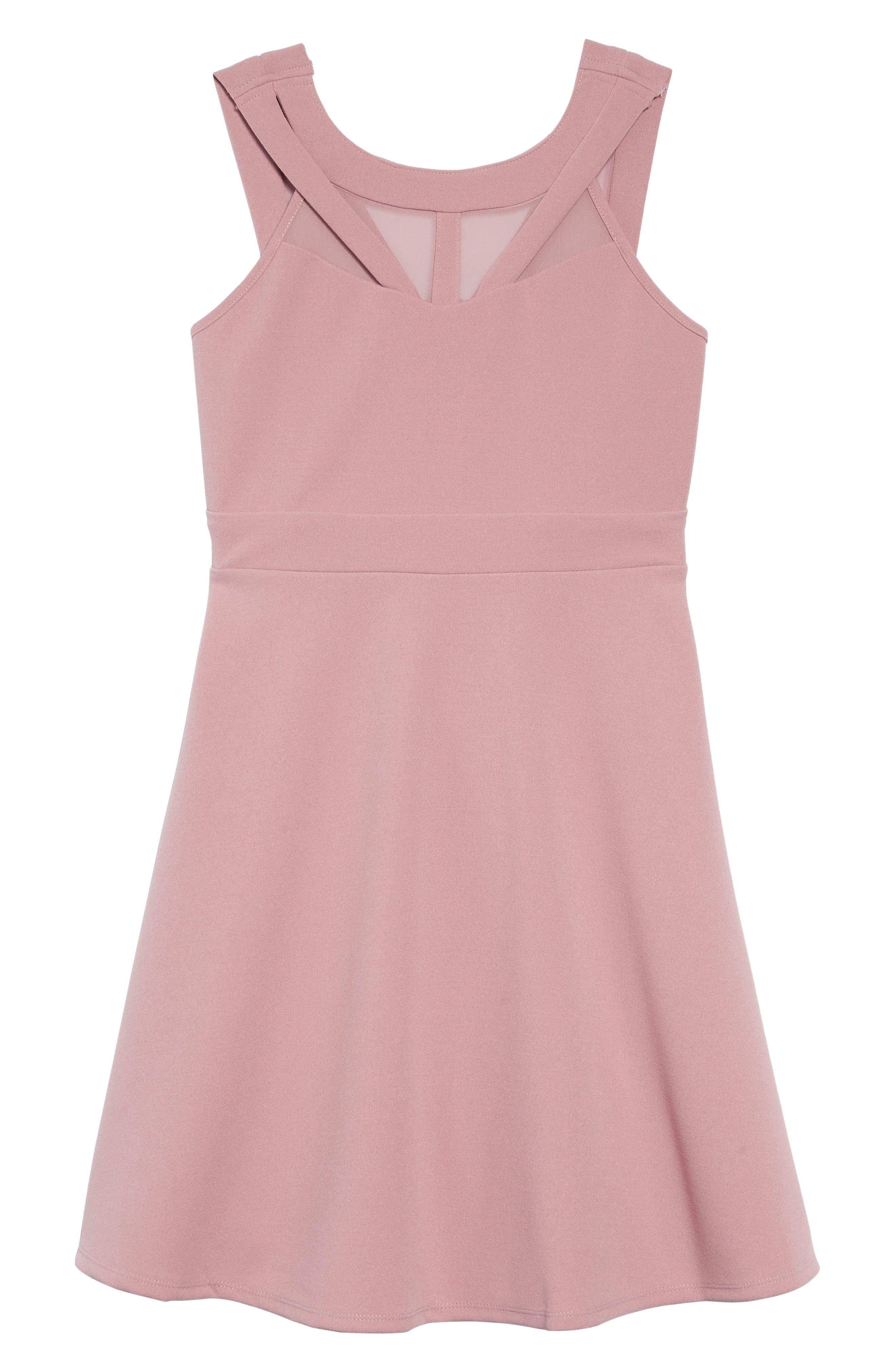 Mesh Cutout Fit & Flare Dress,                         Main,                         color, ROSE