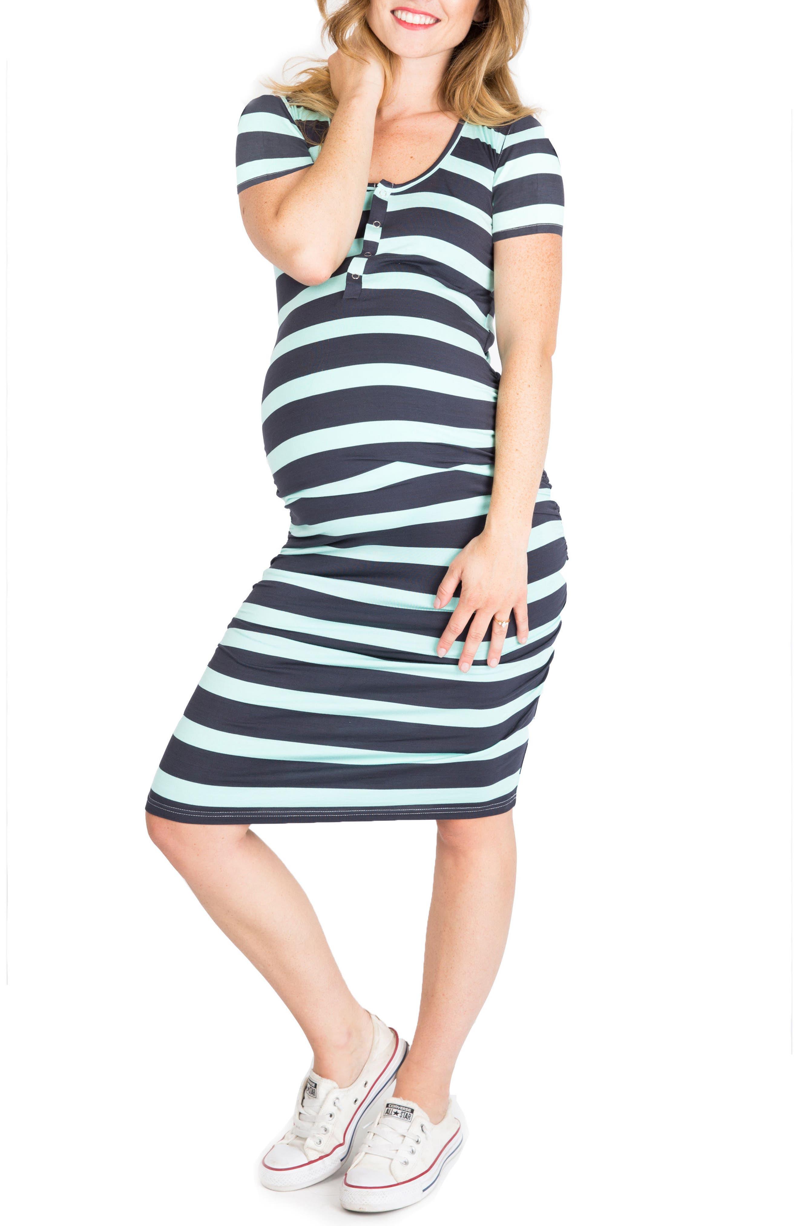 Nom Maternity Snap Maternity/nursing Shirtdress, Grey