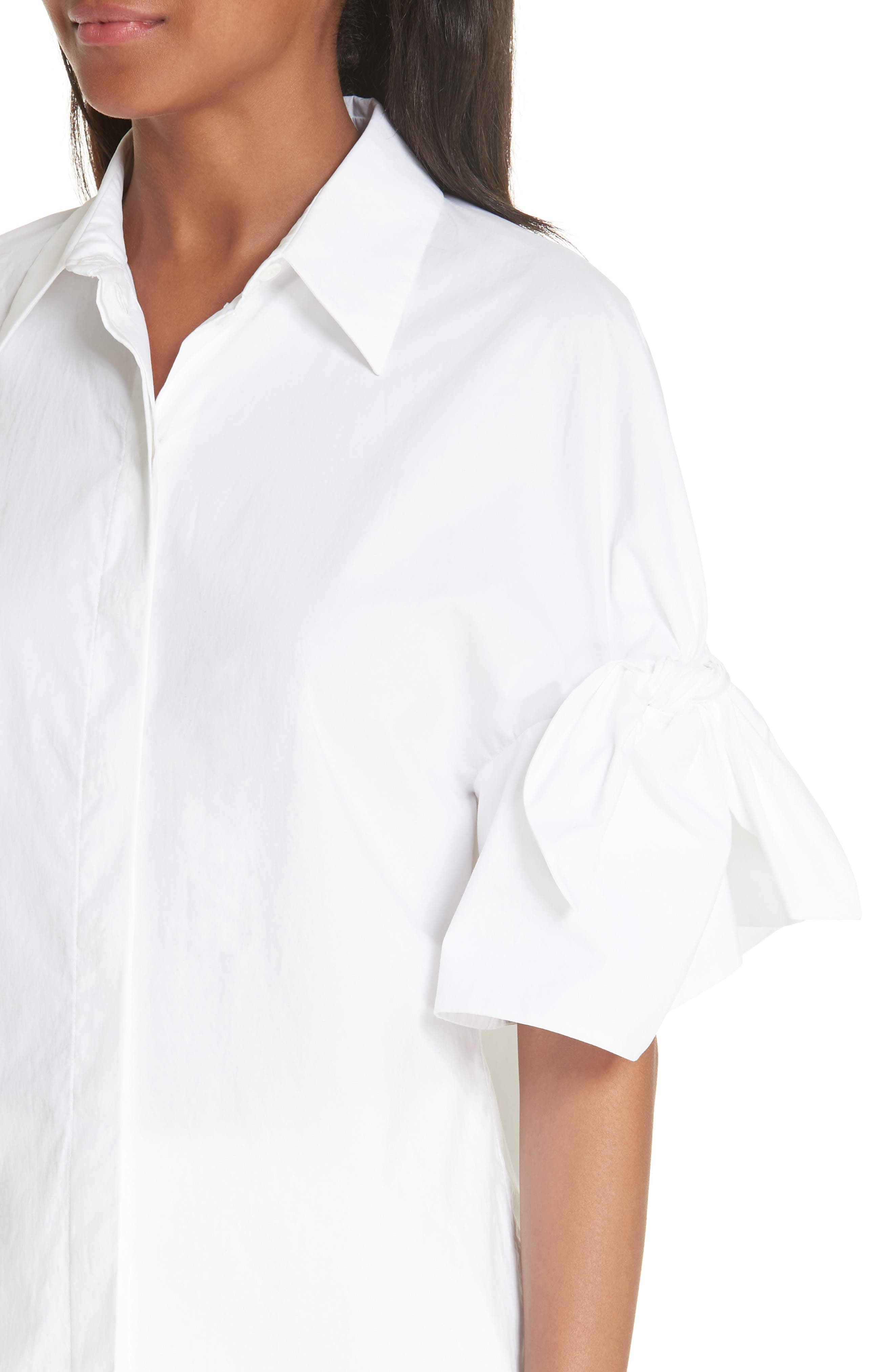 Tie Sleeve Poplin Shirt,                             Alternate thumbnail 4, color,                             OPTIC WHITE