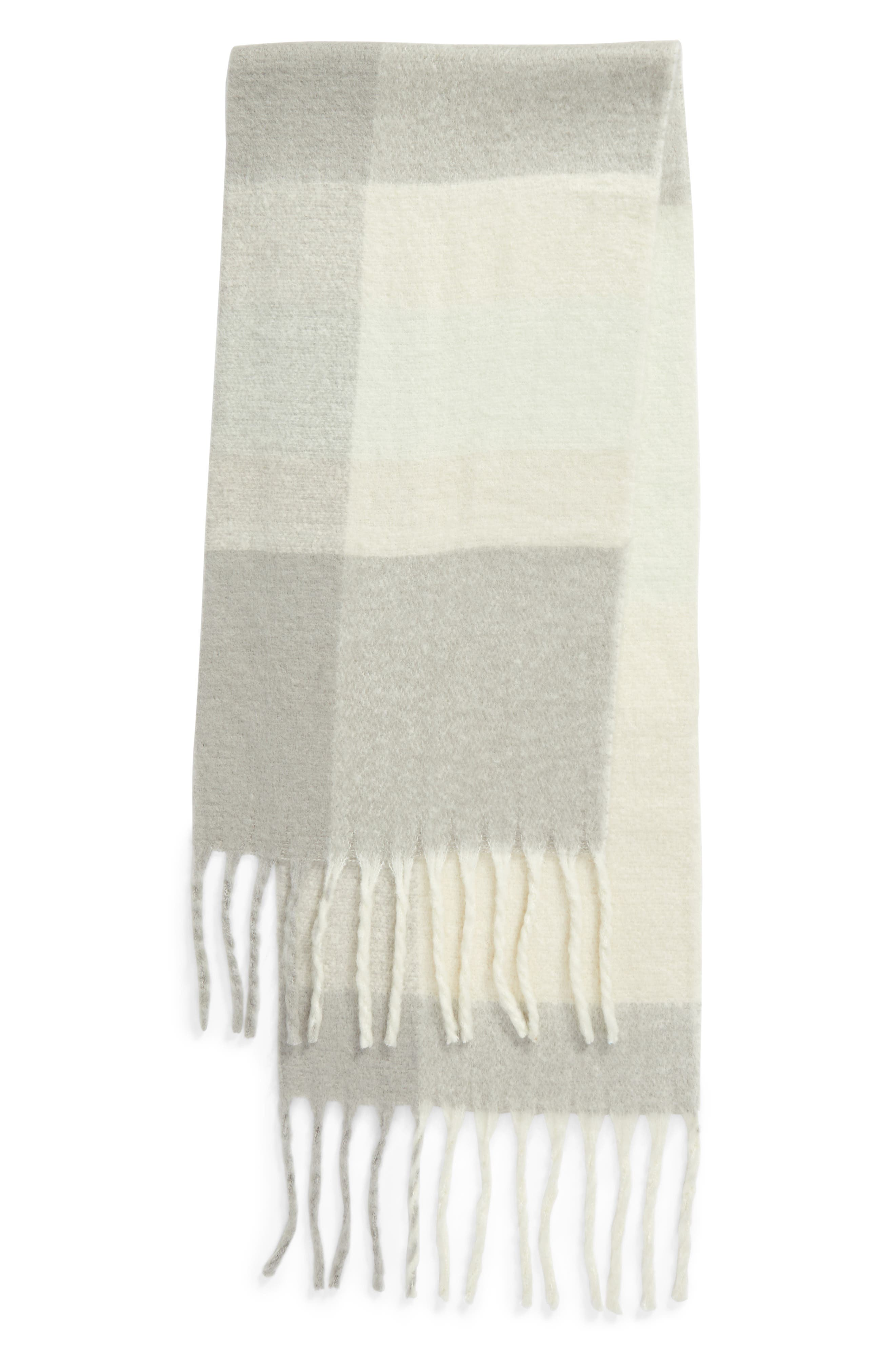Cameron Plaid Fringe Scarf,                             Alternate thumbnail 3, color,                             400