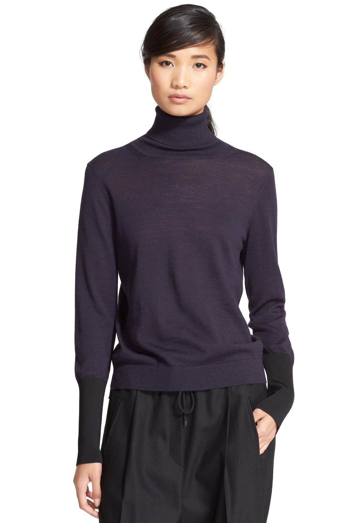 'Jessica' Wool Blend Turtleneck Sweater,                             Main thumbnail 1, color,                             001