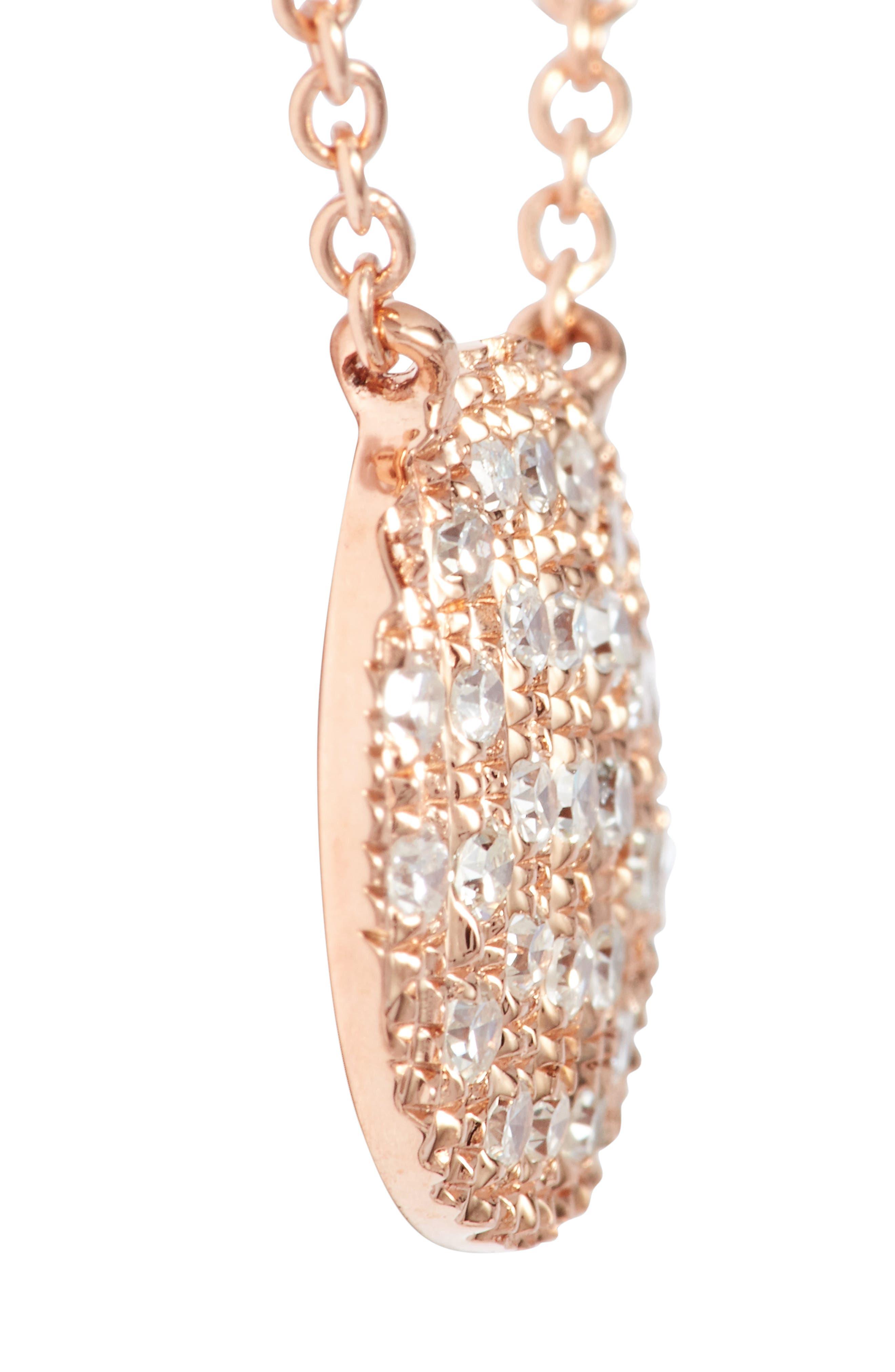 DANA REBECCA DESIGNS,                             'Lauren Joy' Diamond Disc Pendant Necklace,                             Alternate thumbnail 4, color,                             ROSE GOLD