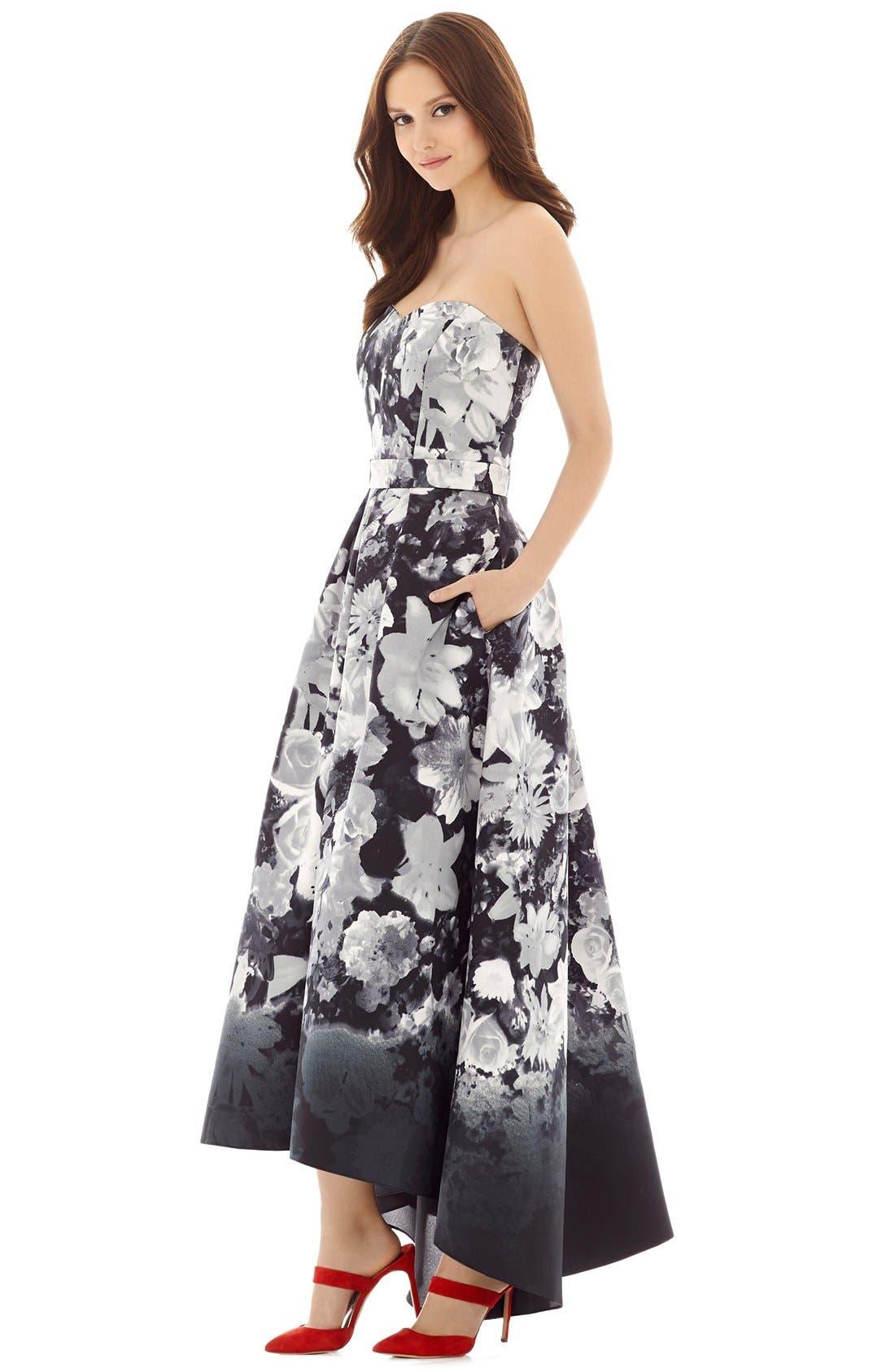 Floral Print Strapless Sateen High/Low Dress,                             Alternate thumbnail 4, color,                             BOHO