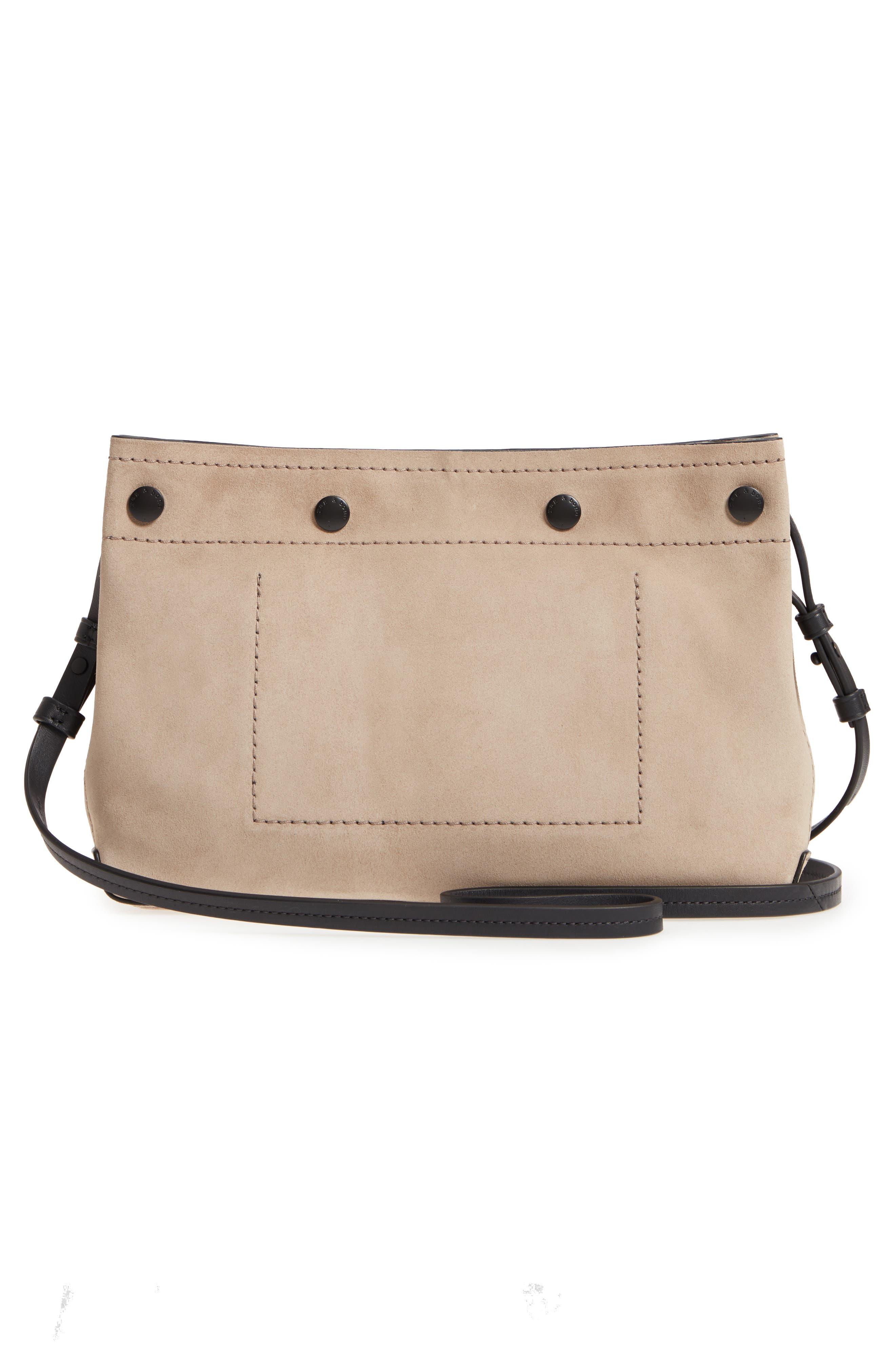 Compass Leather Crossbody Bag,                             Alternate thumbnail 3, color,                             WARM GREY SUEDE