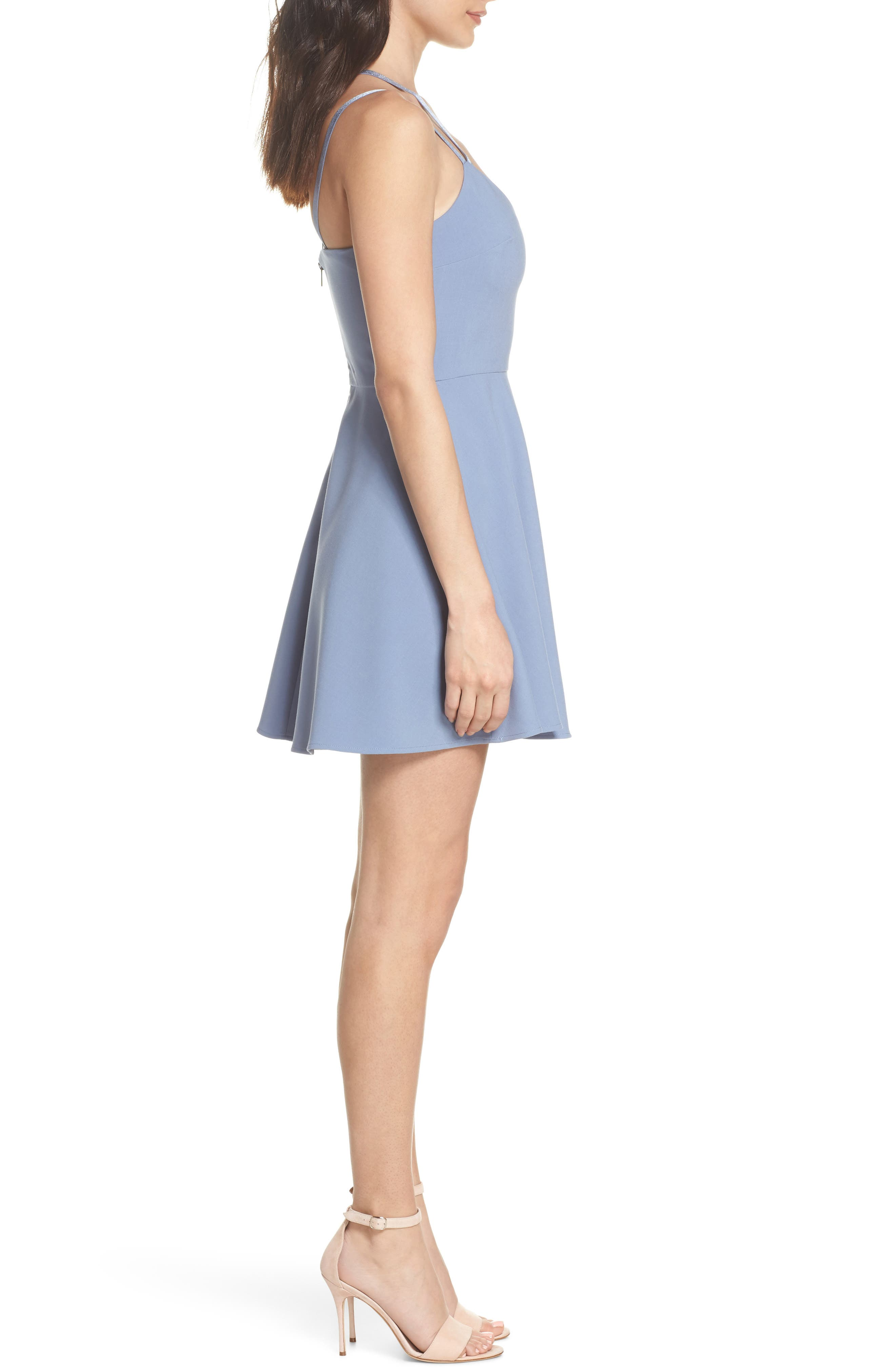 Whisper Light Fit & Flare Dress,                             Alternate thumbnail 3, color,                             400