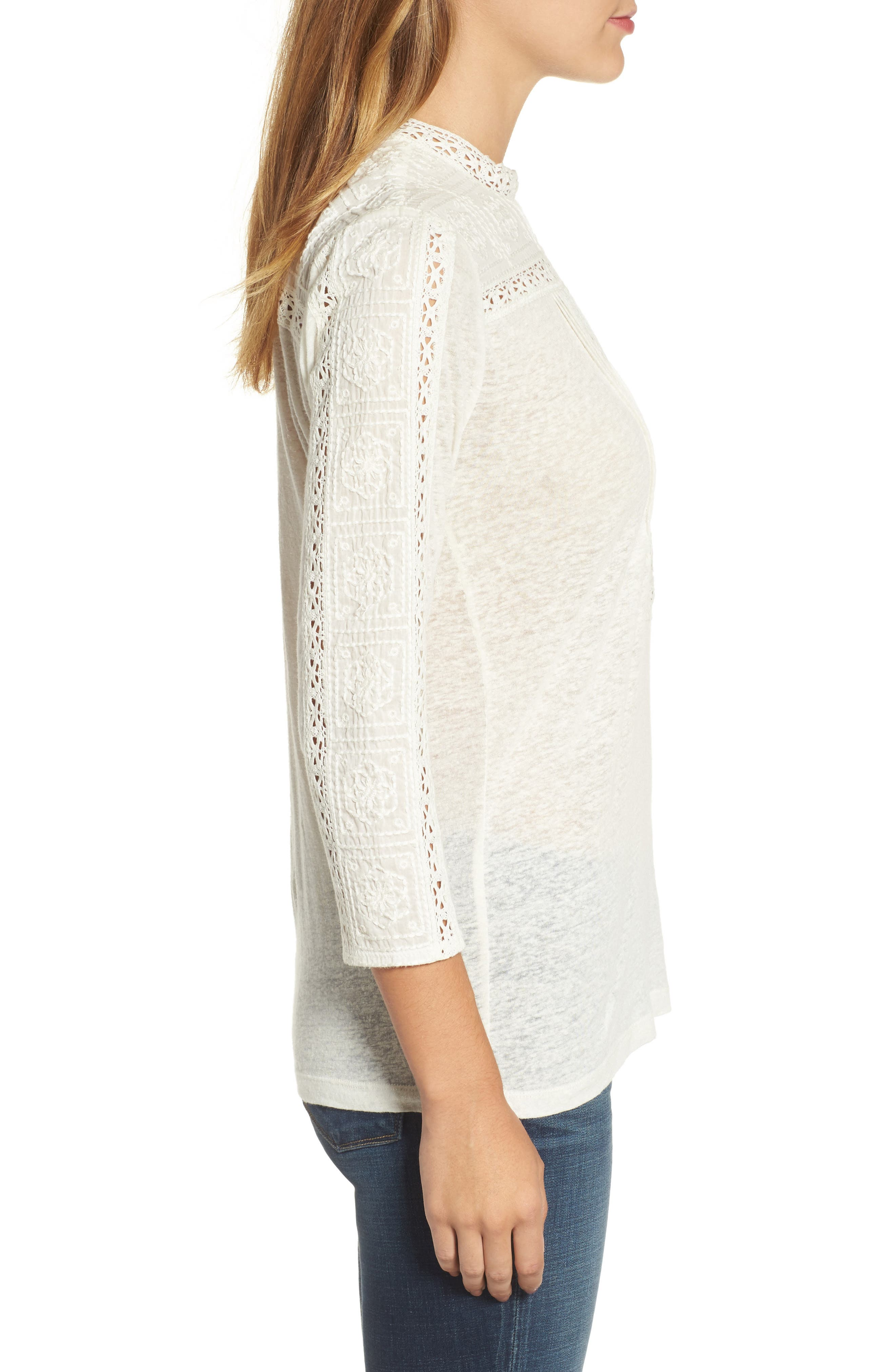 Embroidered Eyelet Trim Top,                             Alternate thumbnail 3, color,                             900
