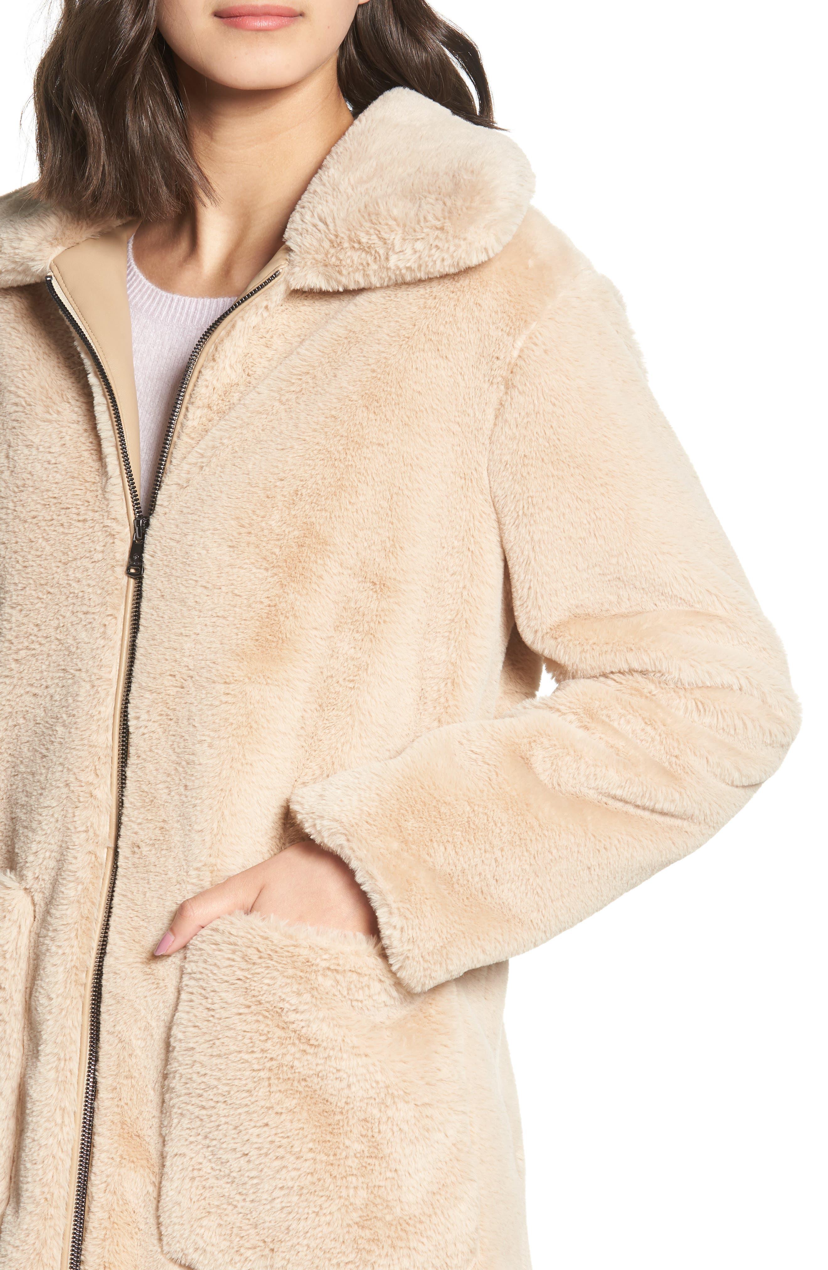 Faux Fur Coat,                             Alternate thumbnail 4, color,                             BLUSH BEIGE