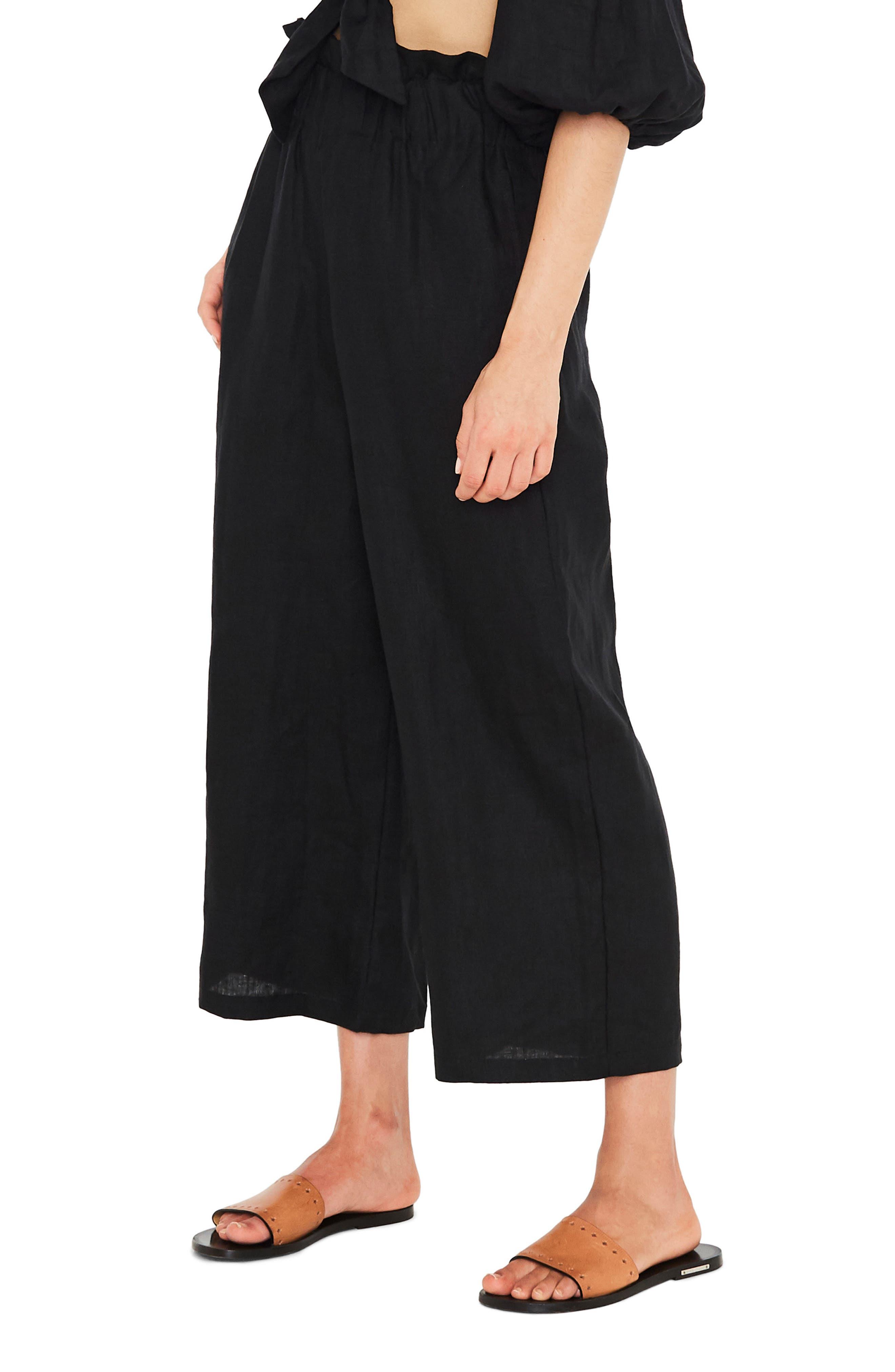 Varadero High Waist Linen Pants,                             Alternate thumbnail 3, color,                             001