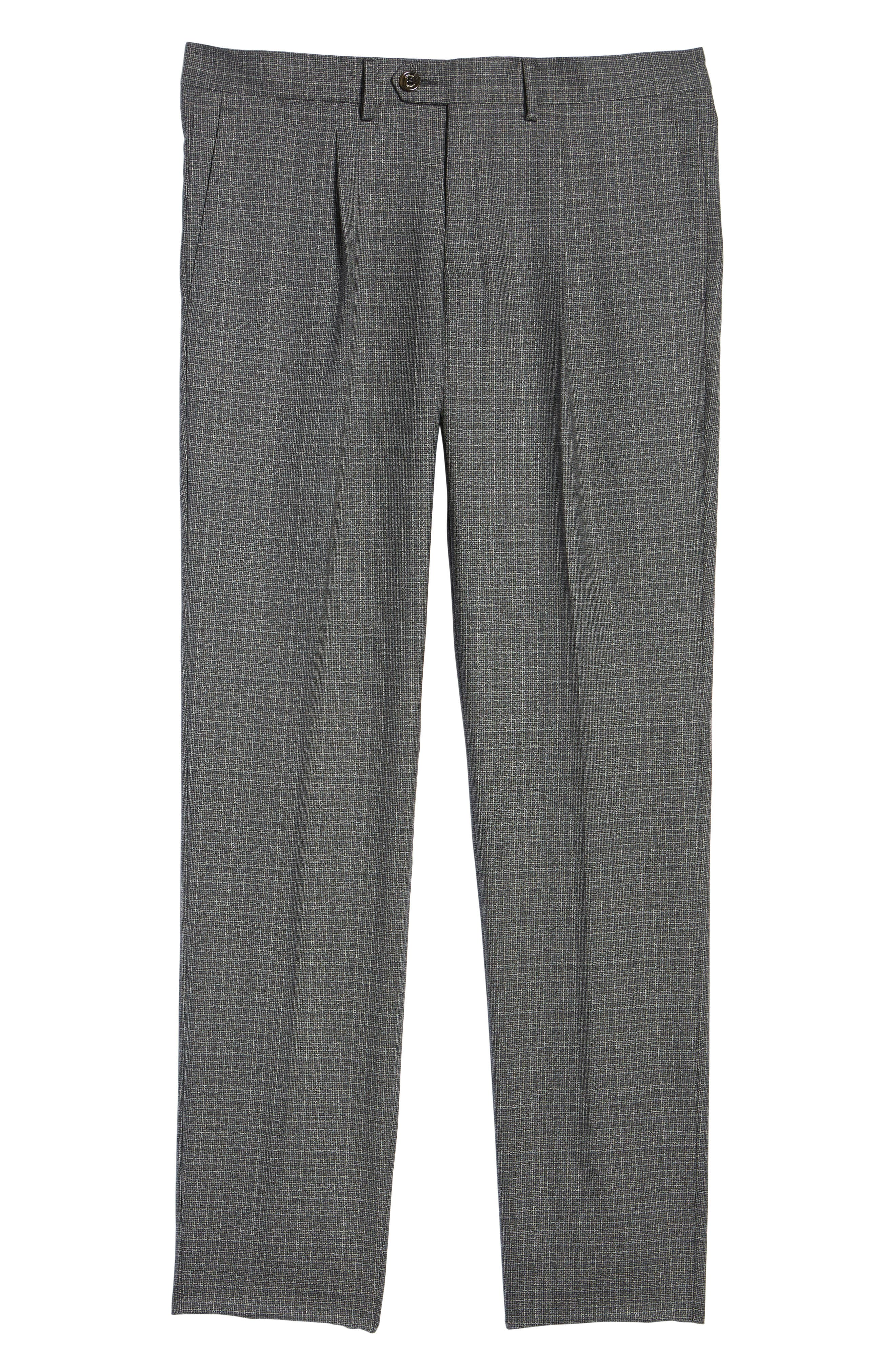 Pleated Check Wool Trousers,                             Alternate thumbnail 6, color,