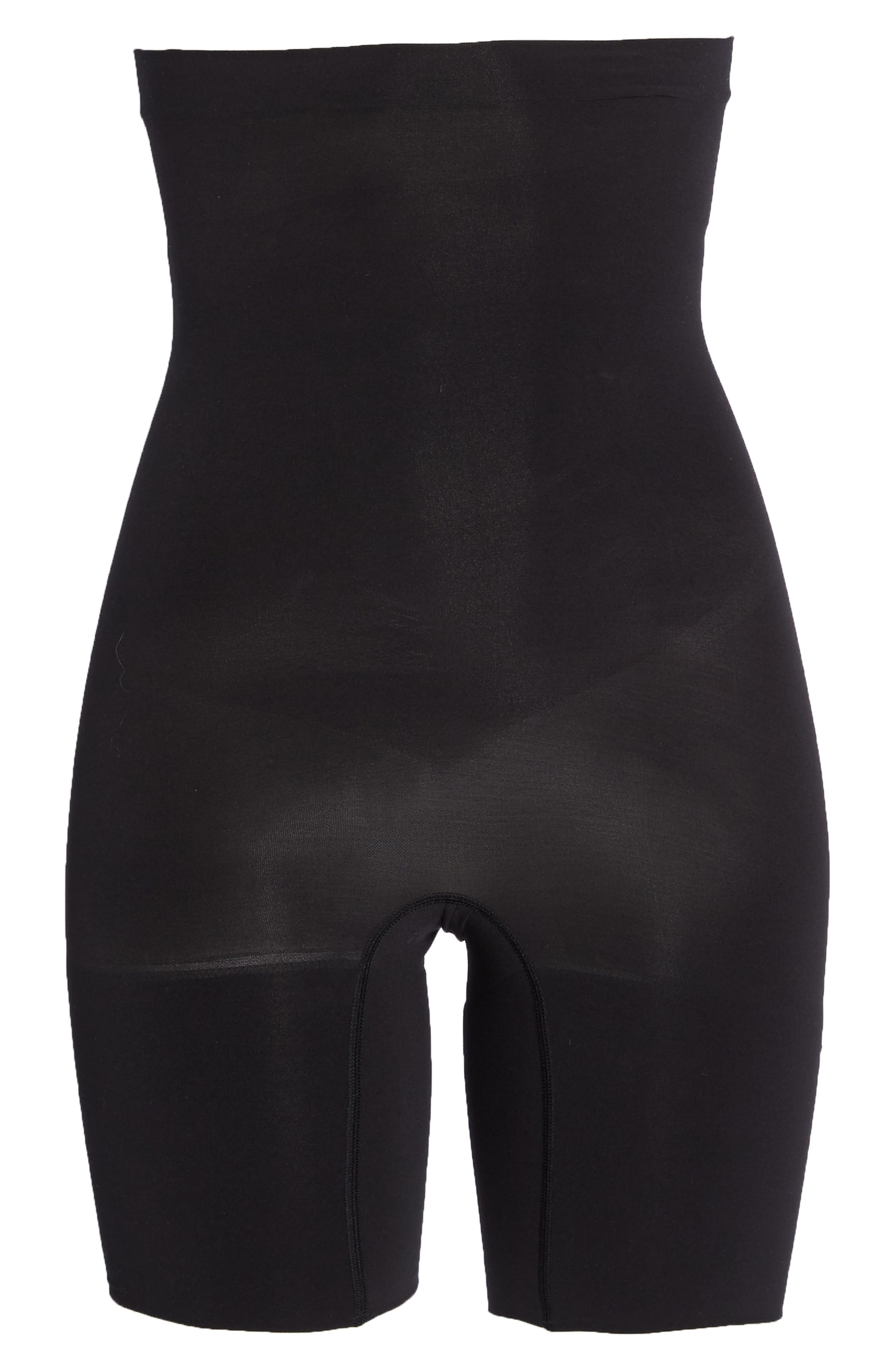 SPANX<SUP>®</SUP>,                             Higher Power Mid-Thigh Shaping Shorts,                             Alternate thumbnail 6, color,                             VERY BLACK