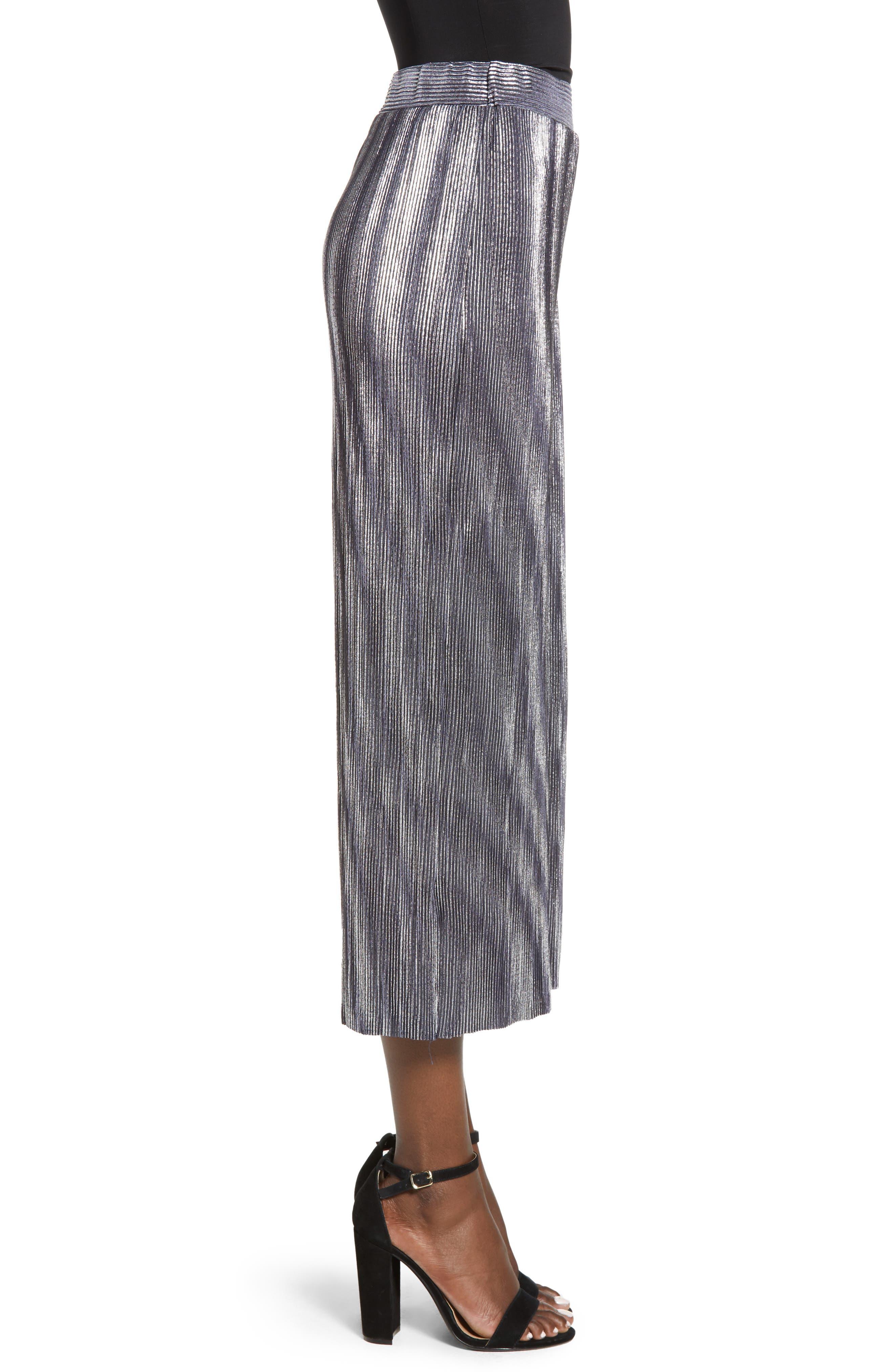 Metallic Mini Pleat Gaucho Crop Pants,                             Alternate thumbnail 3, color,                             SILVER