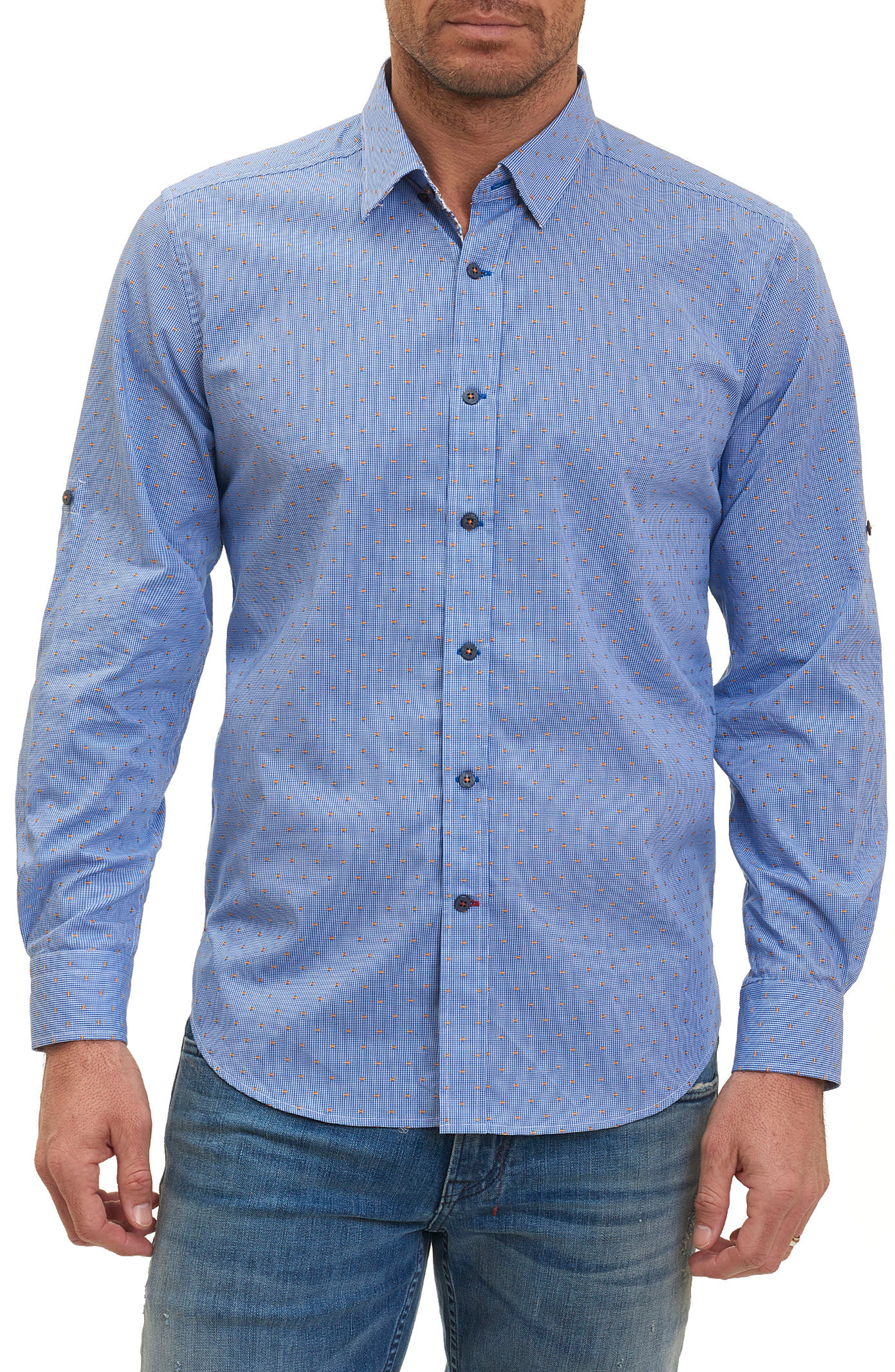 Tailored Fit Houndstooth Sport Shirt,                             Main thumbnail 2, color,