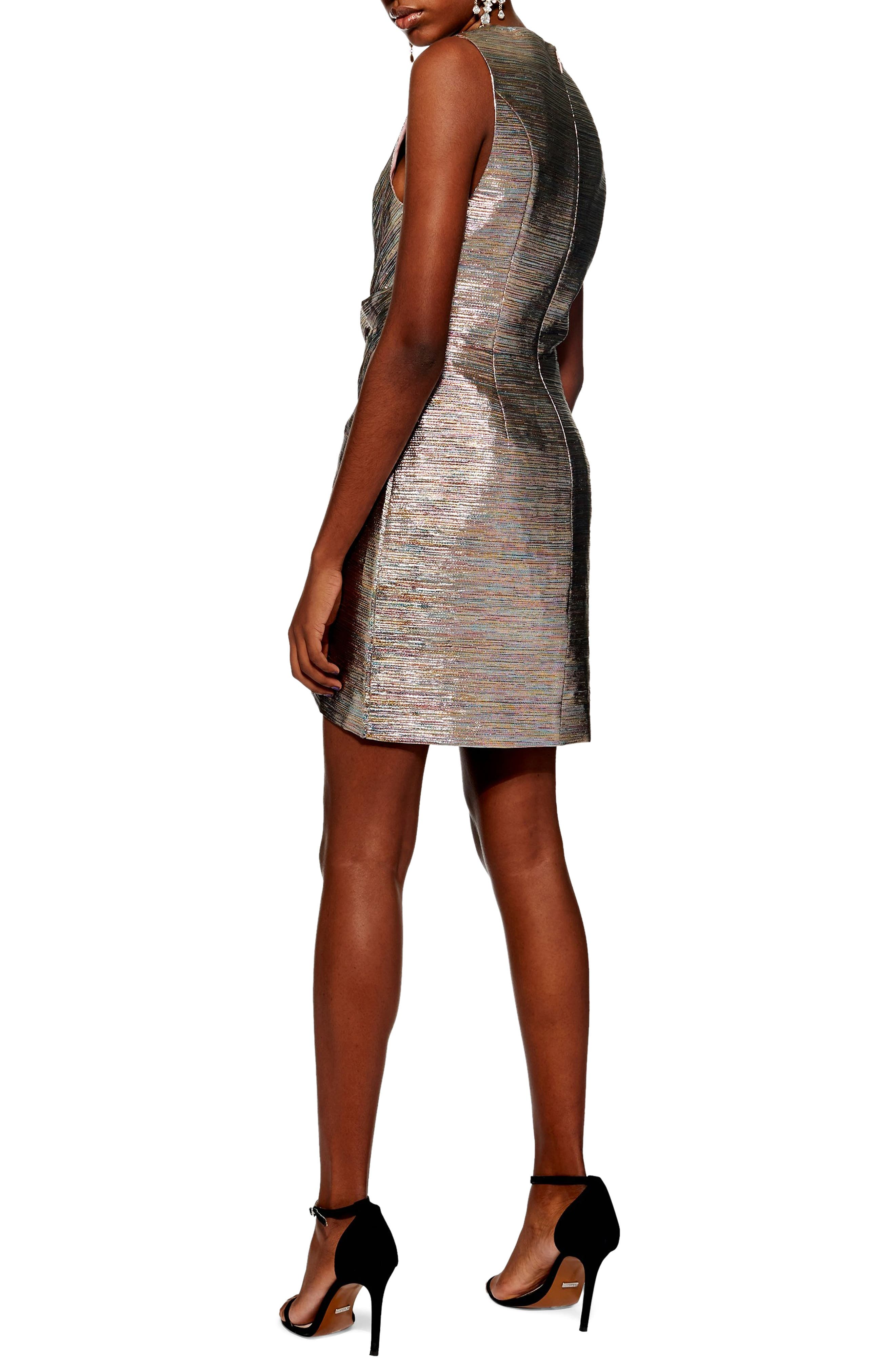 Metallic Wrap Dress,                             Alternate thumbnail 2, color,                             SILVER MULTI