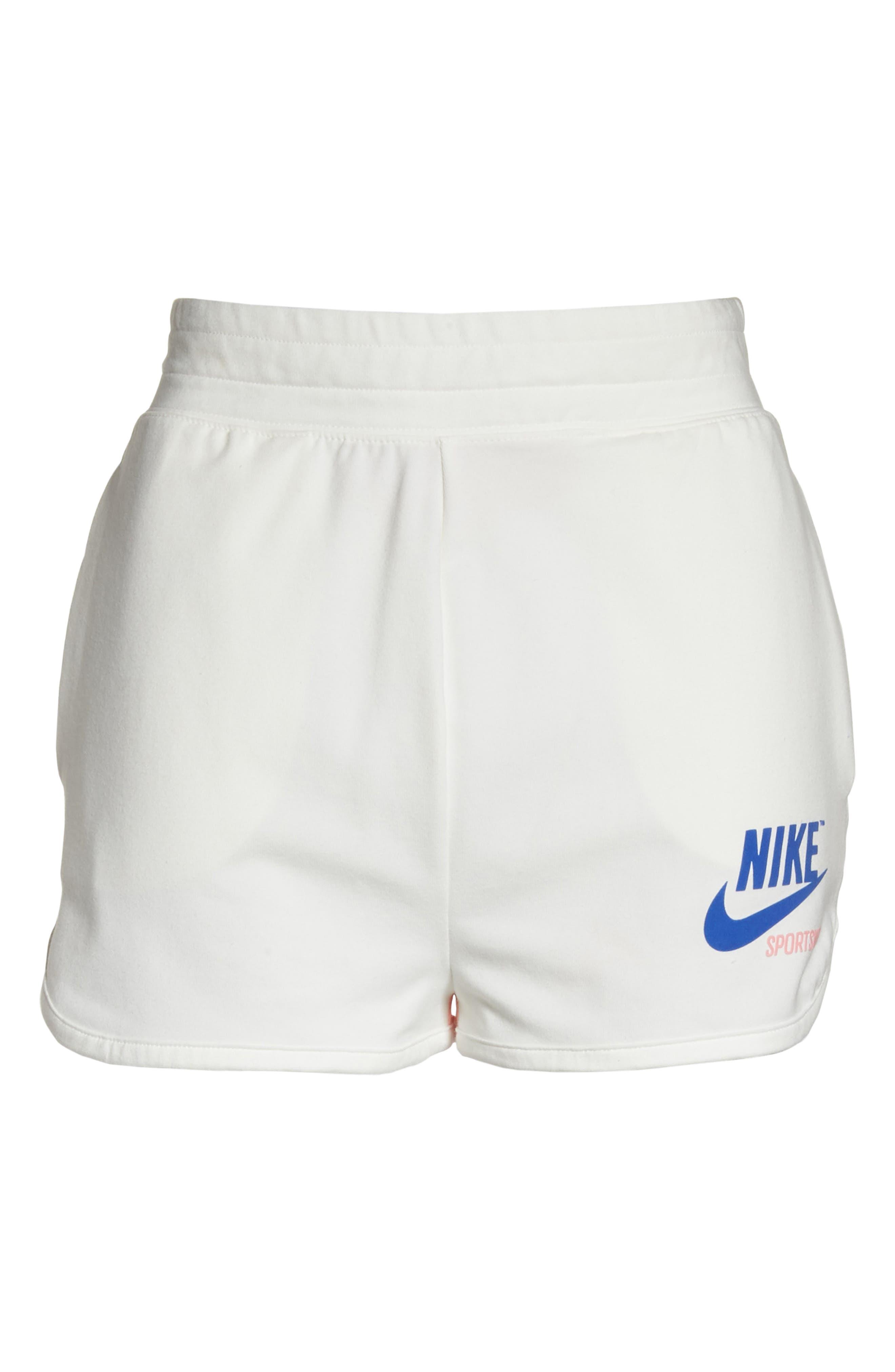 NIKE,                             Sportswear High Waist Archive Shorts,                             Alternate thumbnail 7, color,                             900