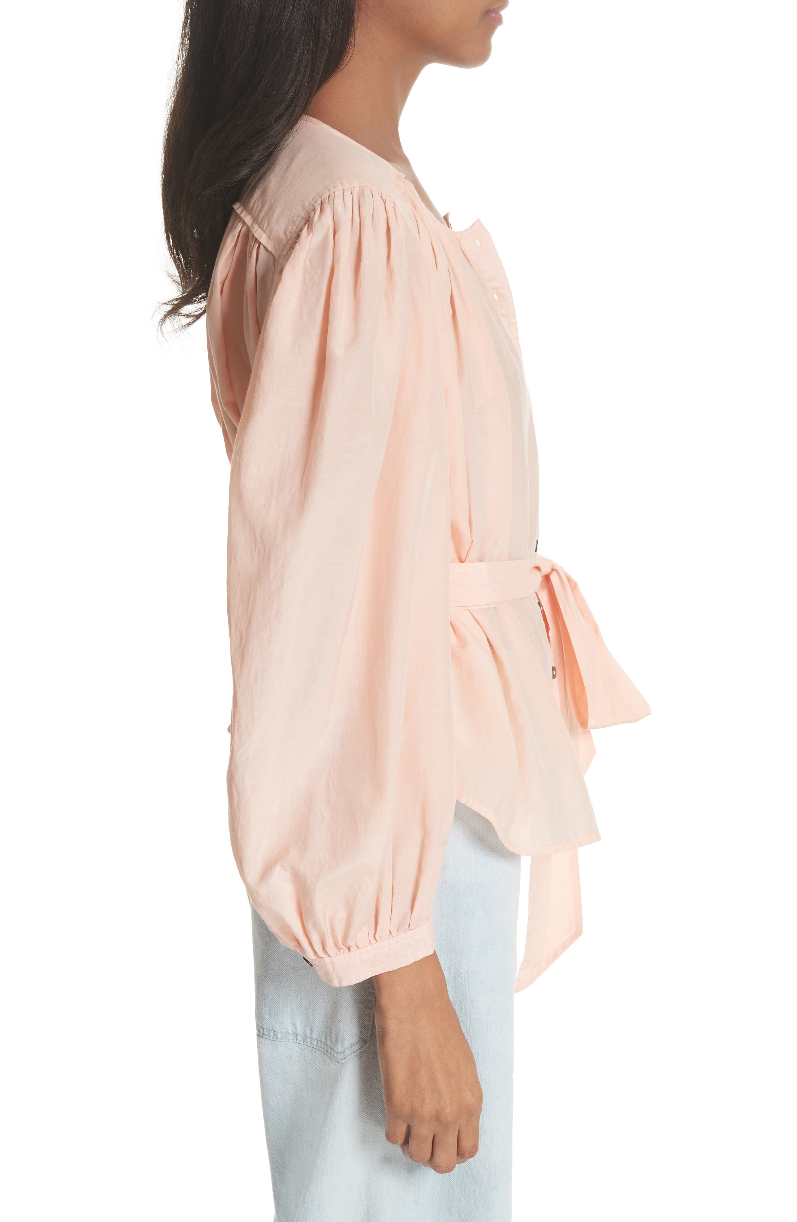 Belted Cotton & Silk Top,                             Alternate thumbnail 3, color,