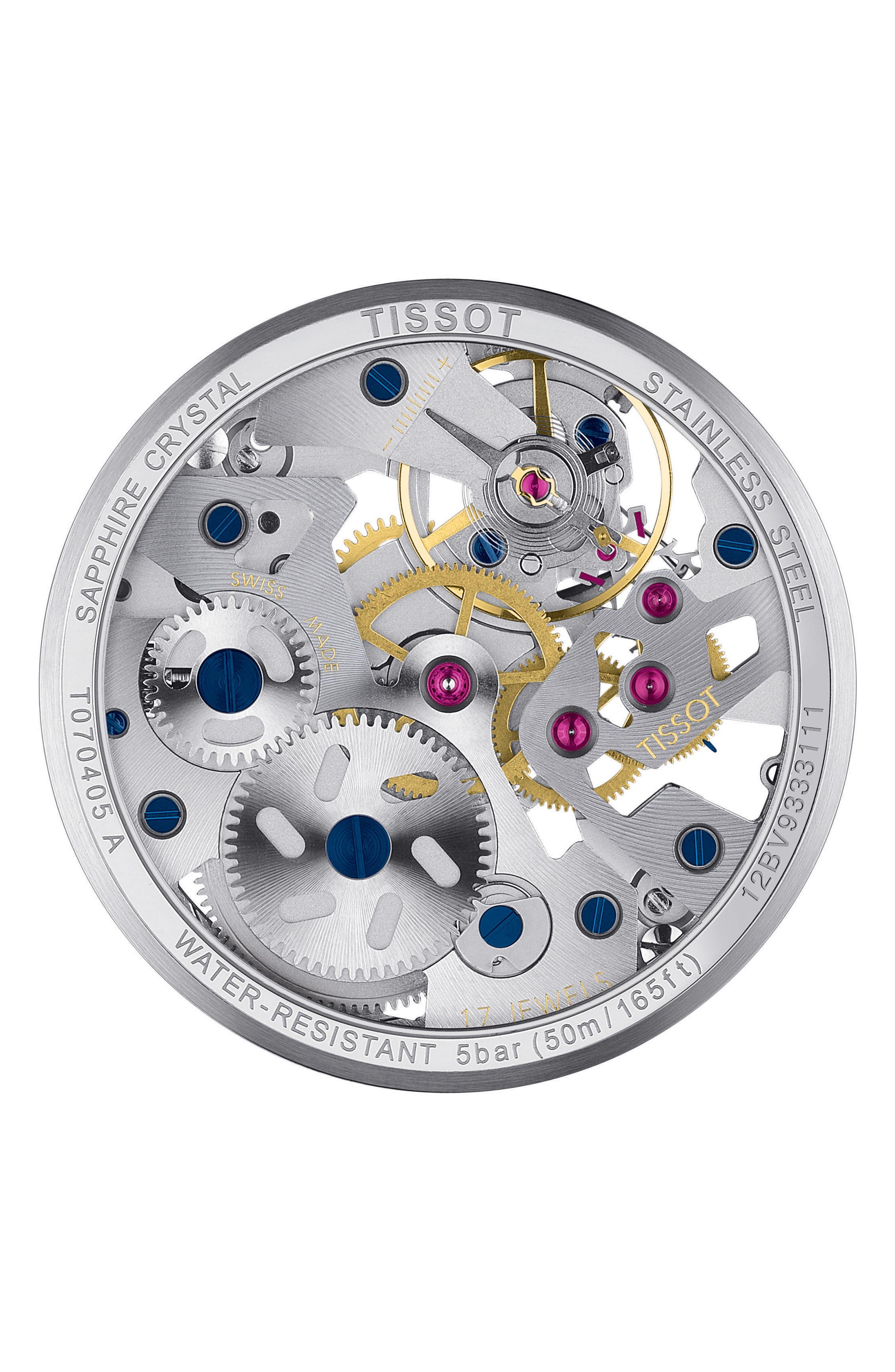 TISSOT,                             T-Complicated Squellette Mechanical Watch, 43mm,                             Alternate thumbnail 5, color,                             BLACK/ SILVER