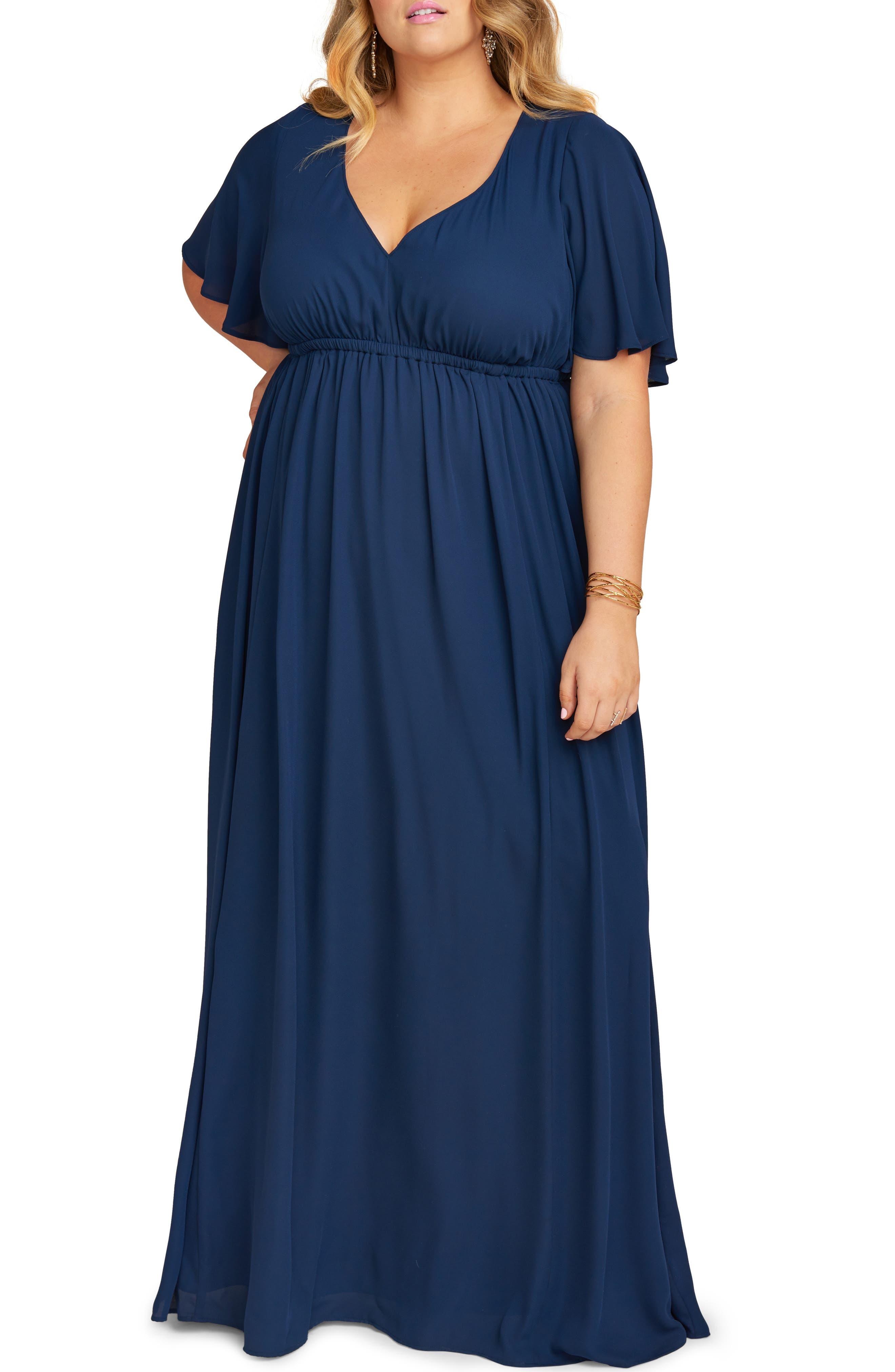 Plus Size Show Me Your Mumu Emily Evening Dress, Blue