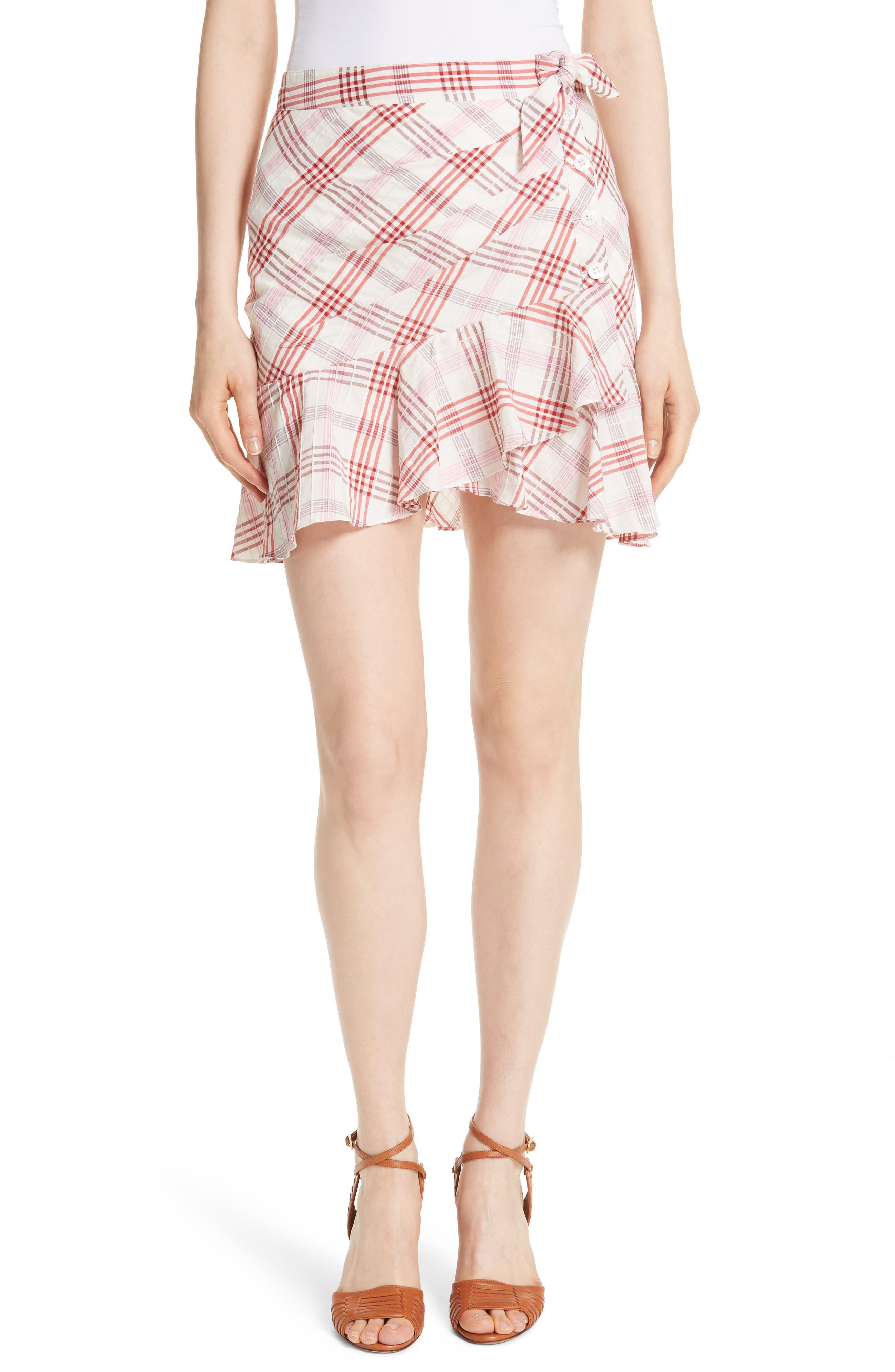 Kaia Check Ruffle Skirt,                             Main thumbnail 2, color,