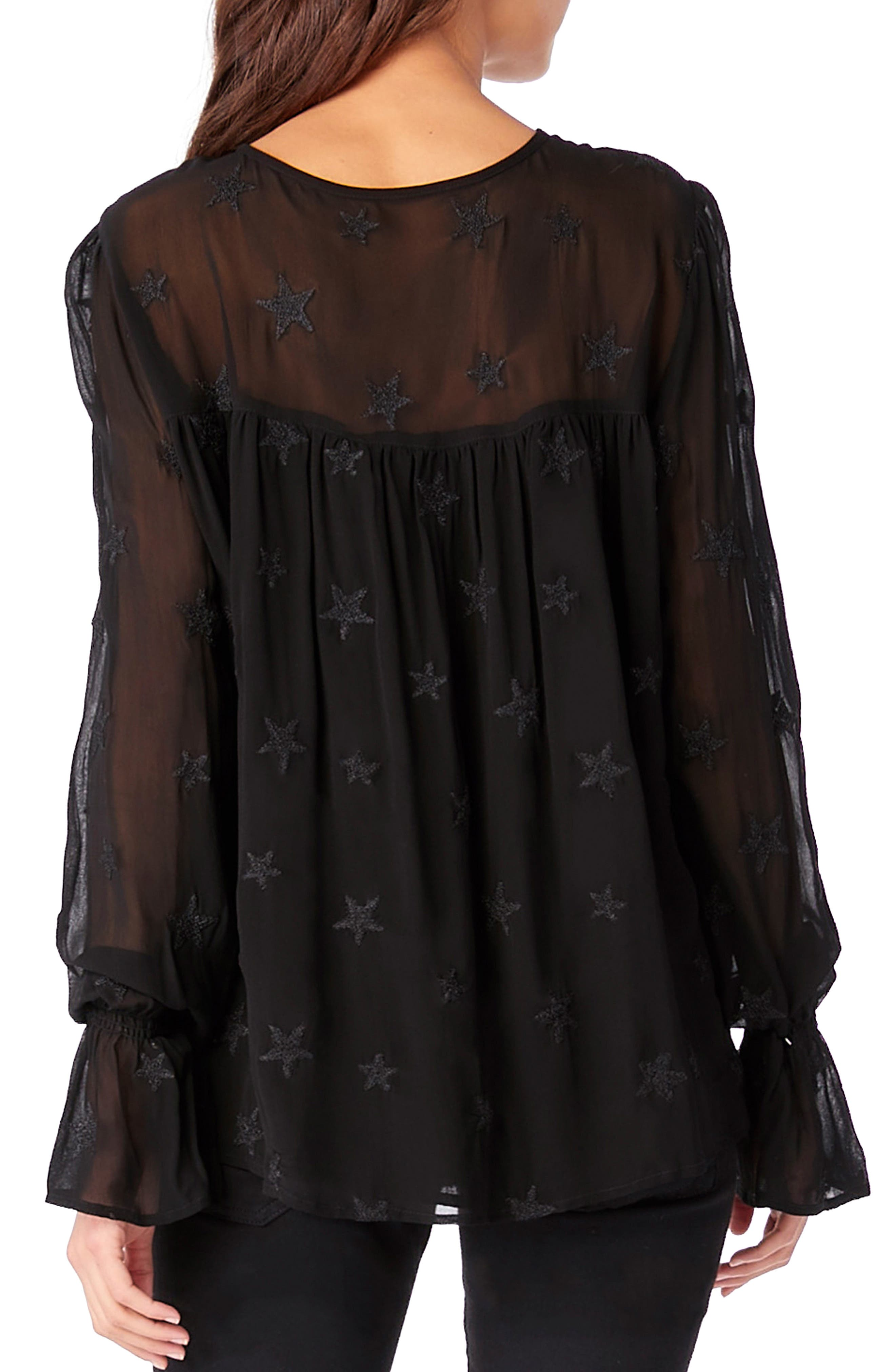 Embroidered Bell Sleeve Top,                             Alternate thumbnail 2, color,                             001