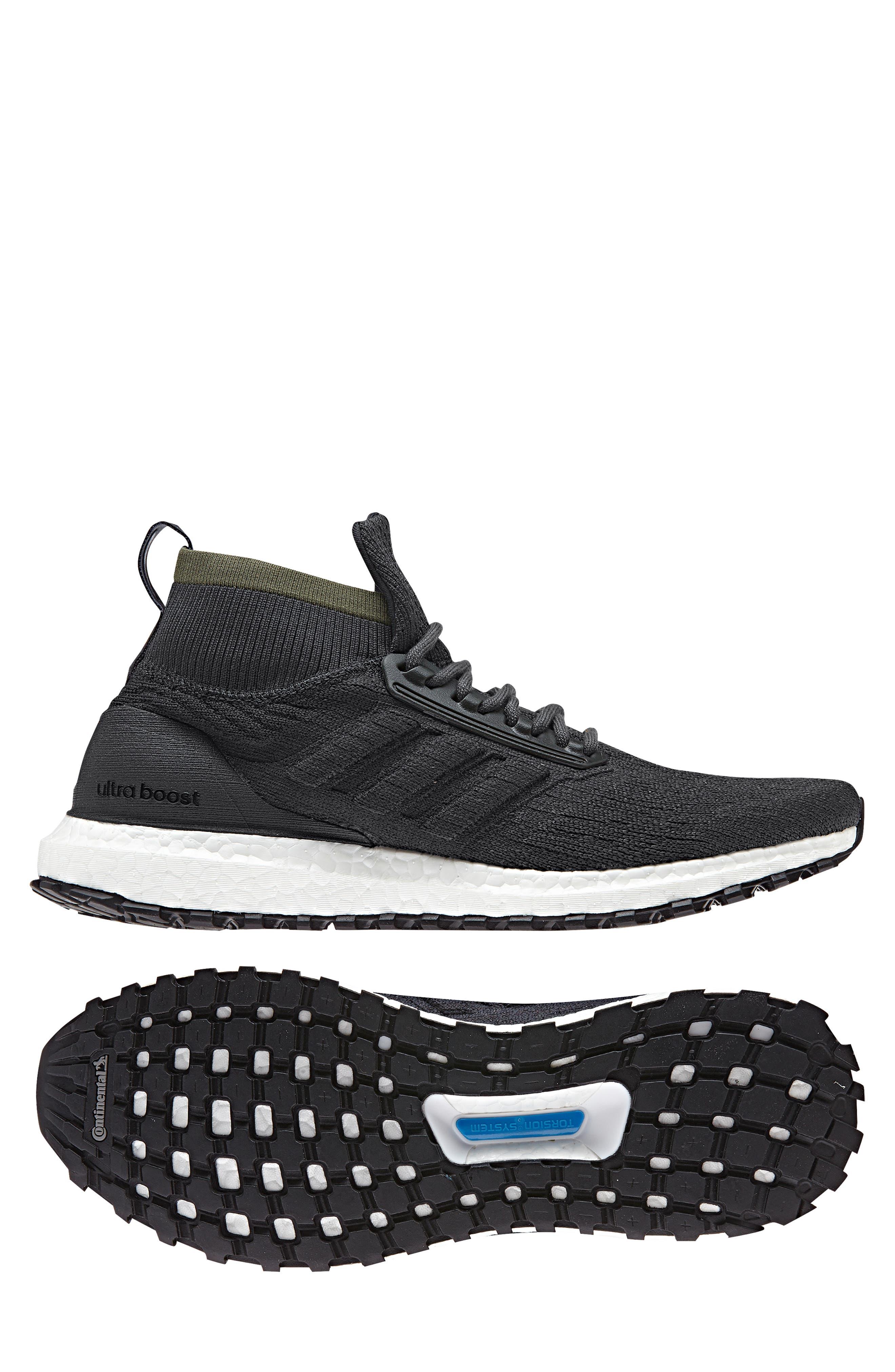 UltraBoost All Terrain Water Resistant Running Shoe,                             Alternate thumbnail 11, color,                             CARBON / CORE BLACK / WHITE
