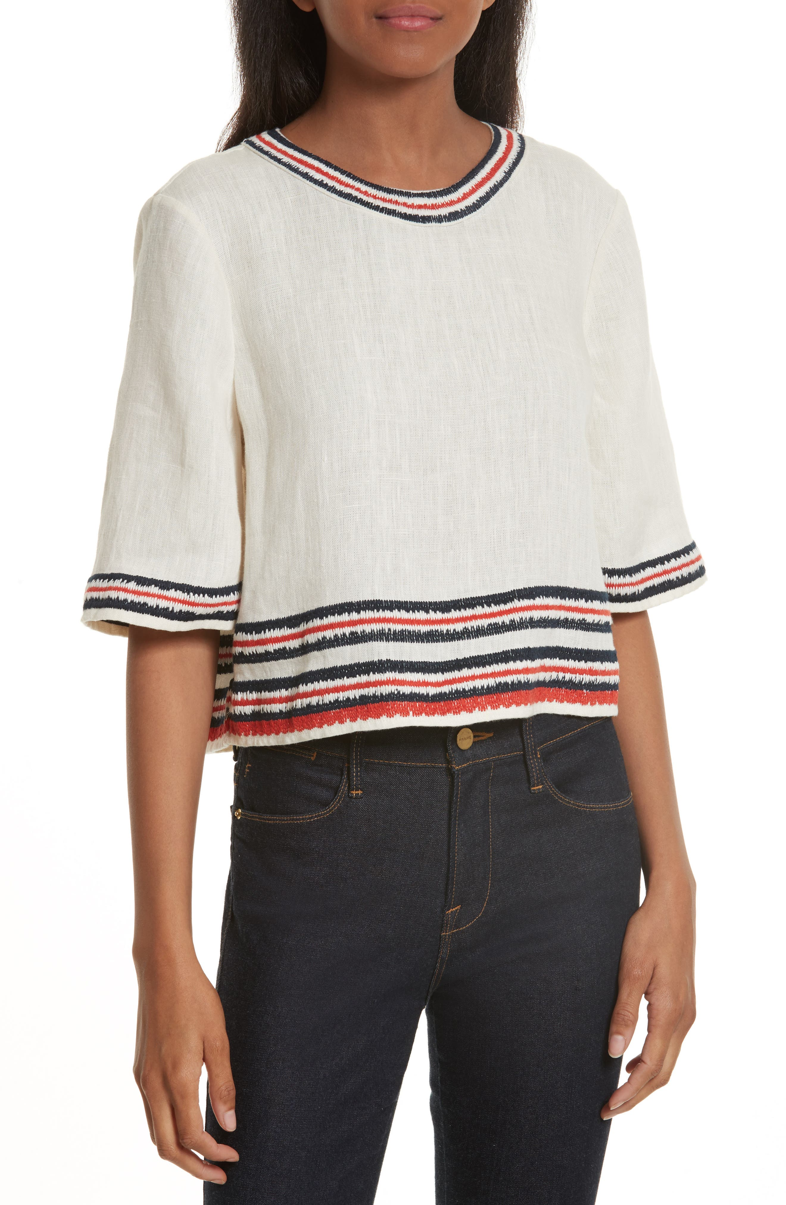 Florentina Embroidered Linen Top,                             Main thumbnail 1, color,                             104