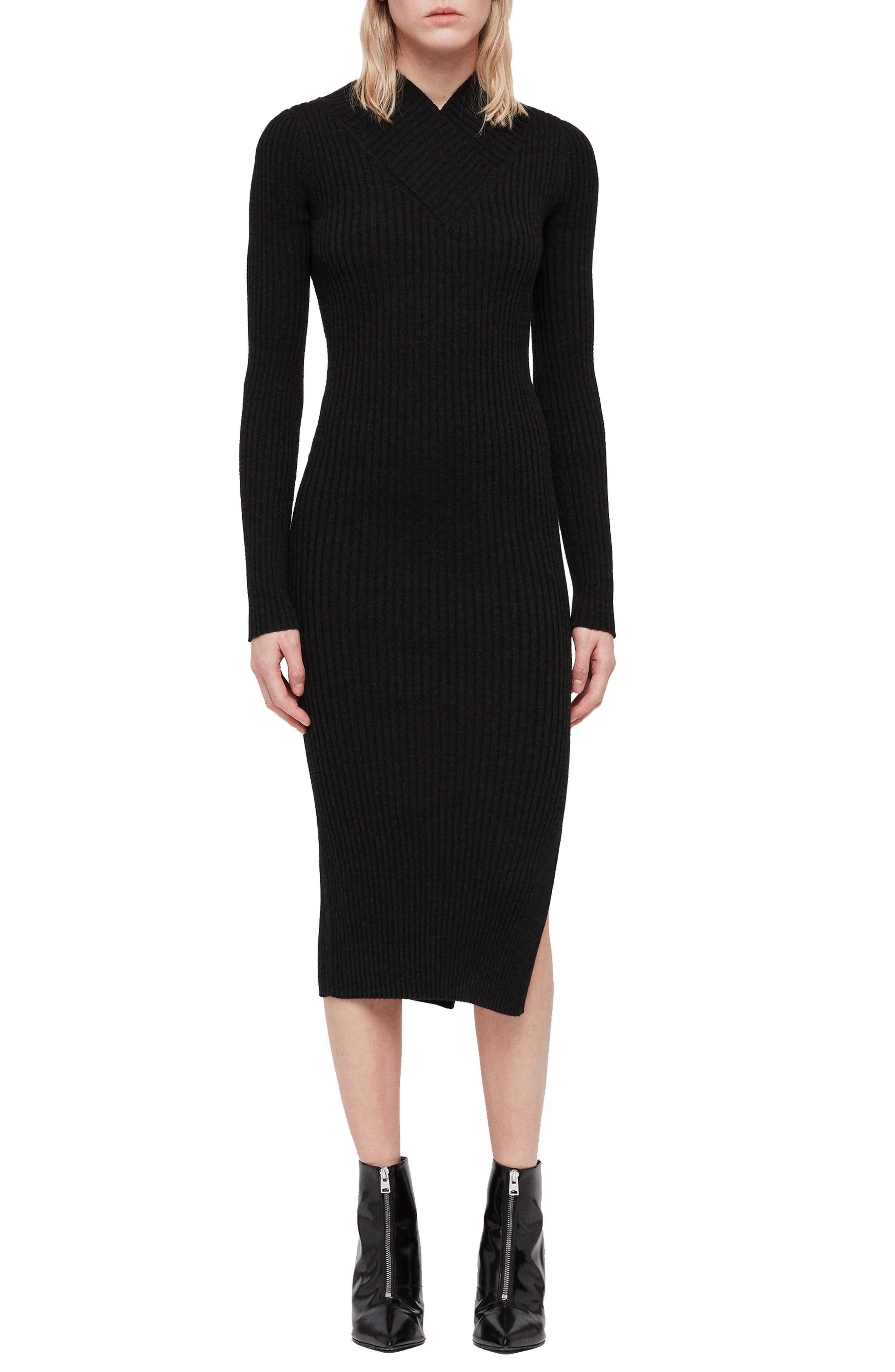 ALLSAINTS Vries Merino Wool Sweater Dress in Cinder Black Marl