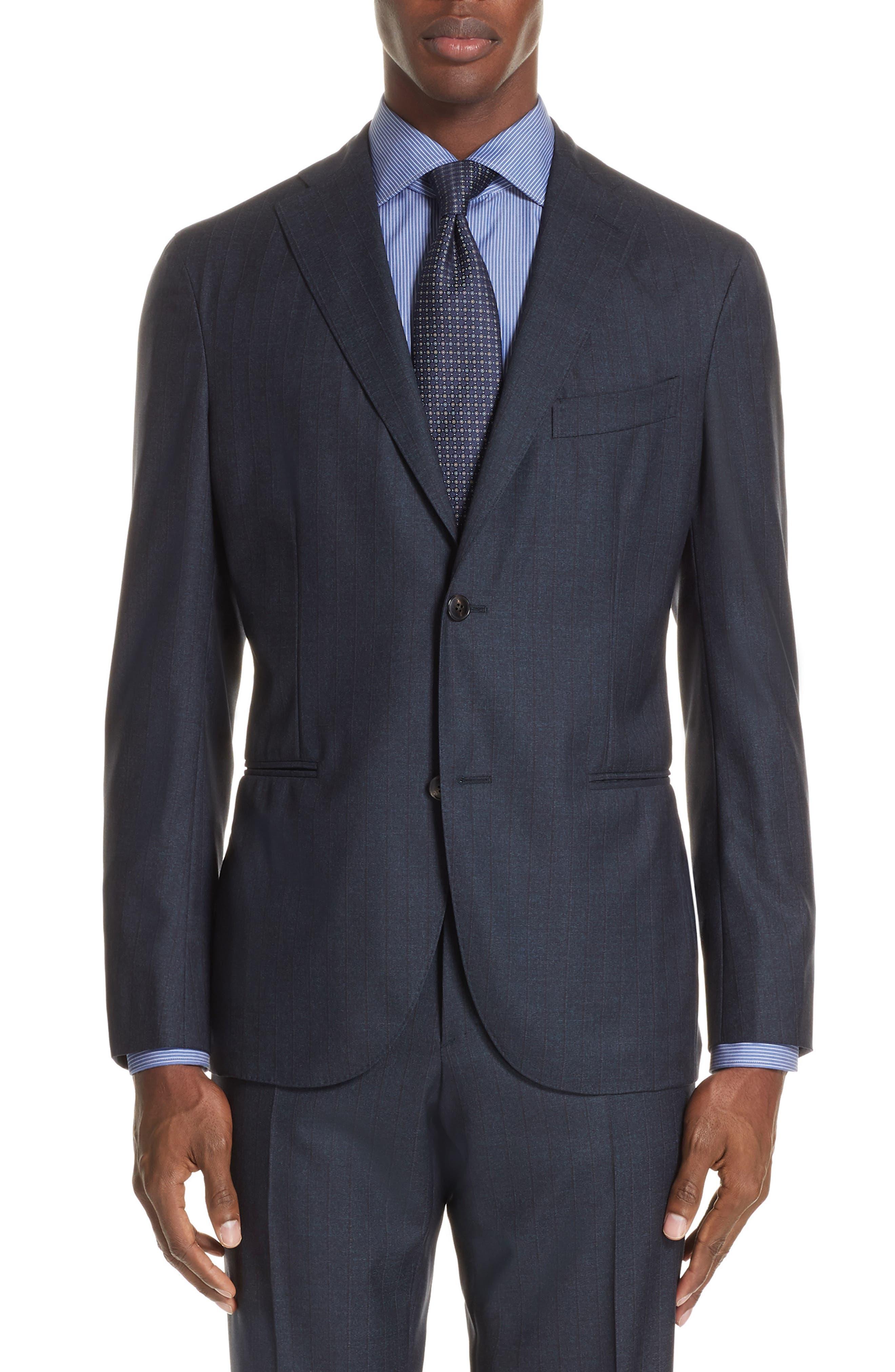 Trim Fit Stripe Wool Suit,                             Alternate thumbnail 5, color,                             NAVY