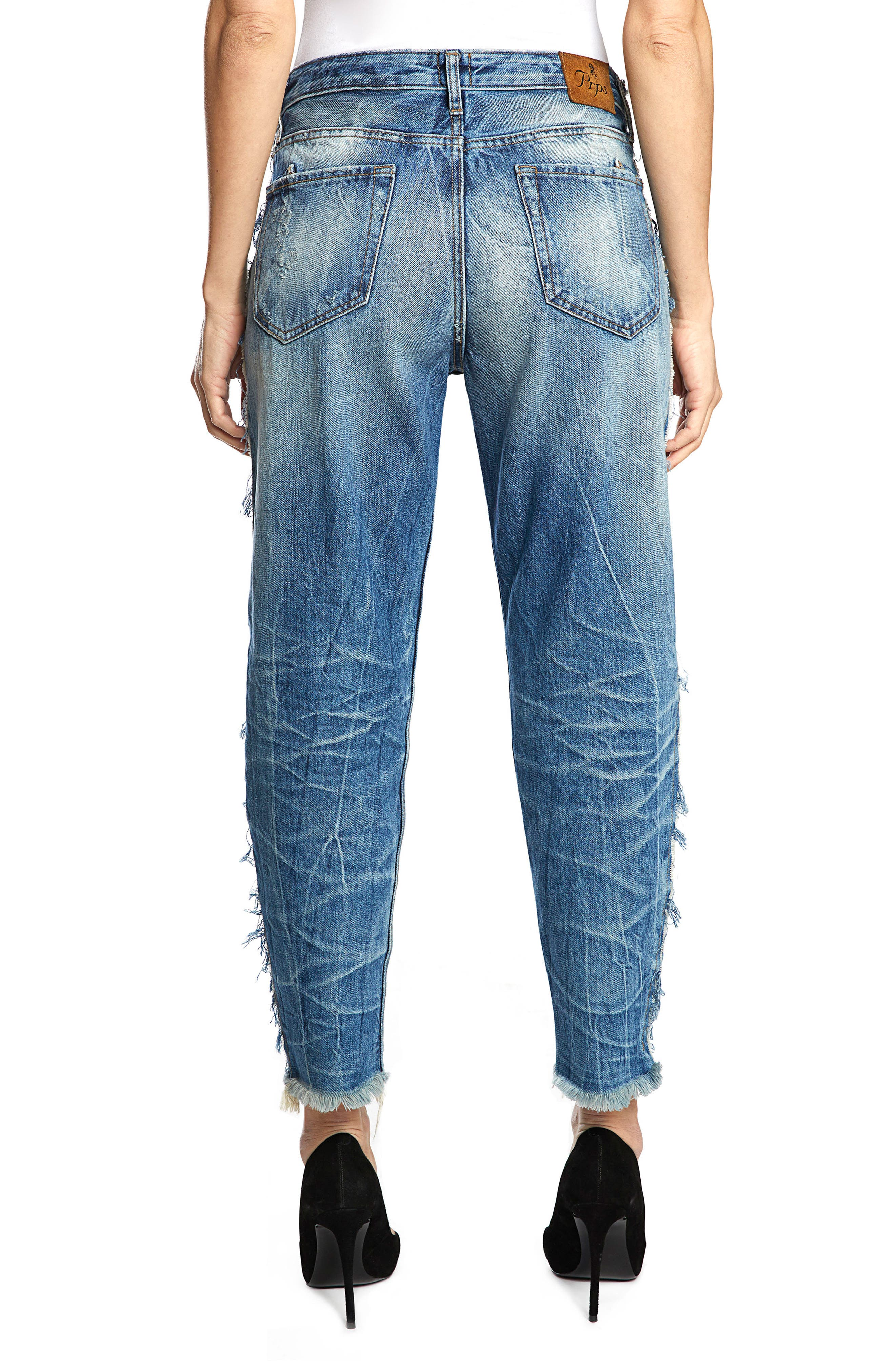 Bel Air High Waist Contrast Seam Boyfriend Jeans,                             Alternate thumbnail 2, color,                             490
