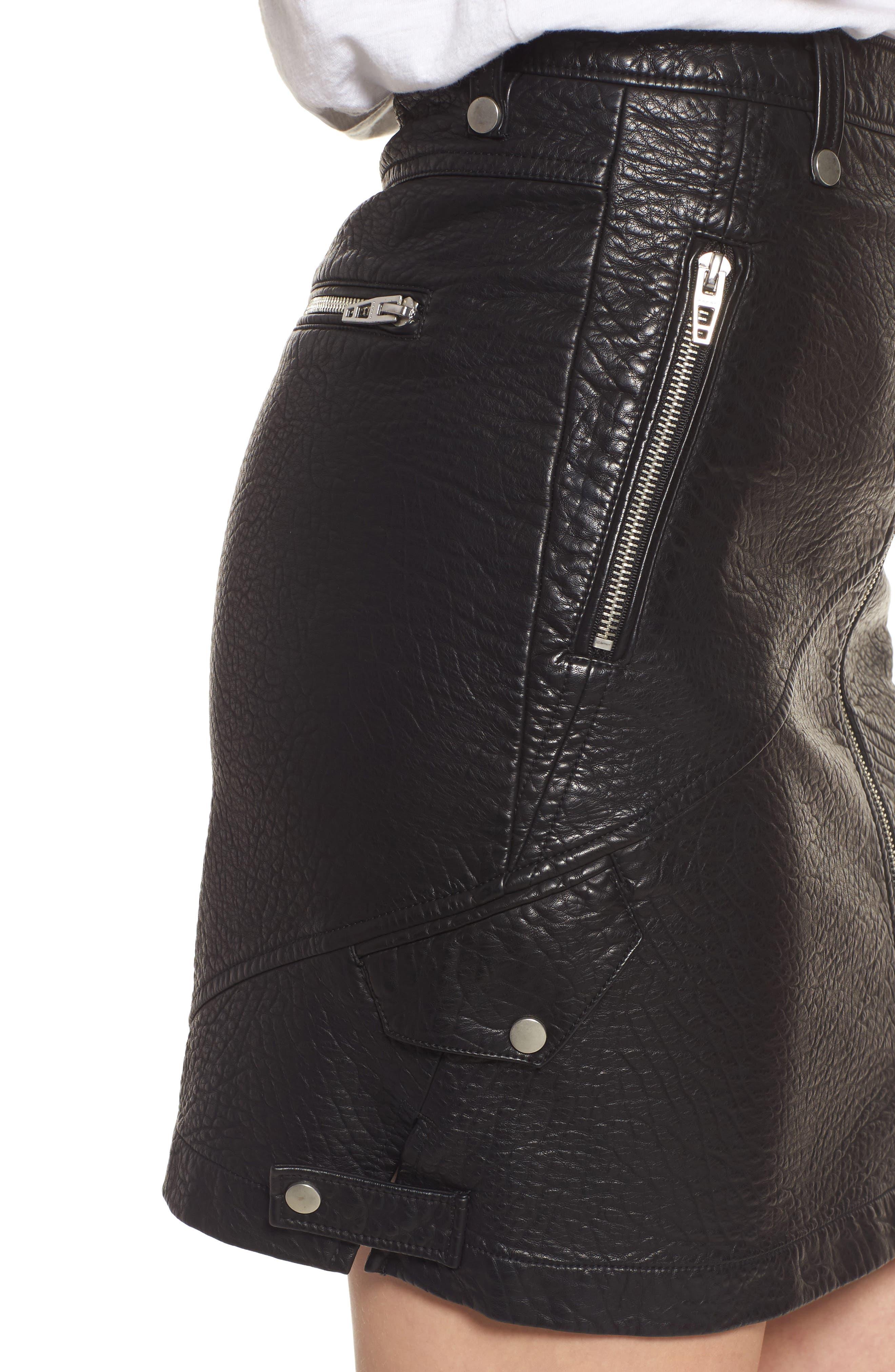 Faux Leather Moto Skirt,                             Alternate thumbnail 4, color,                             001
