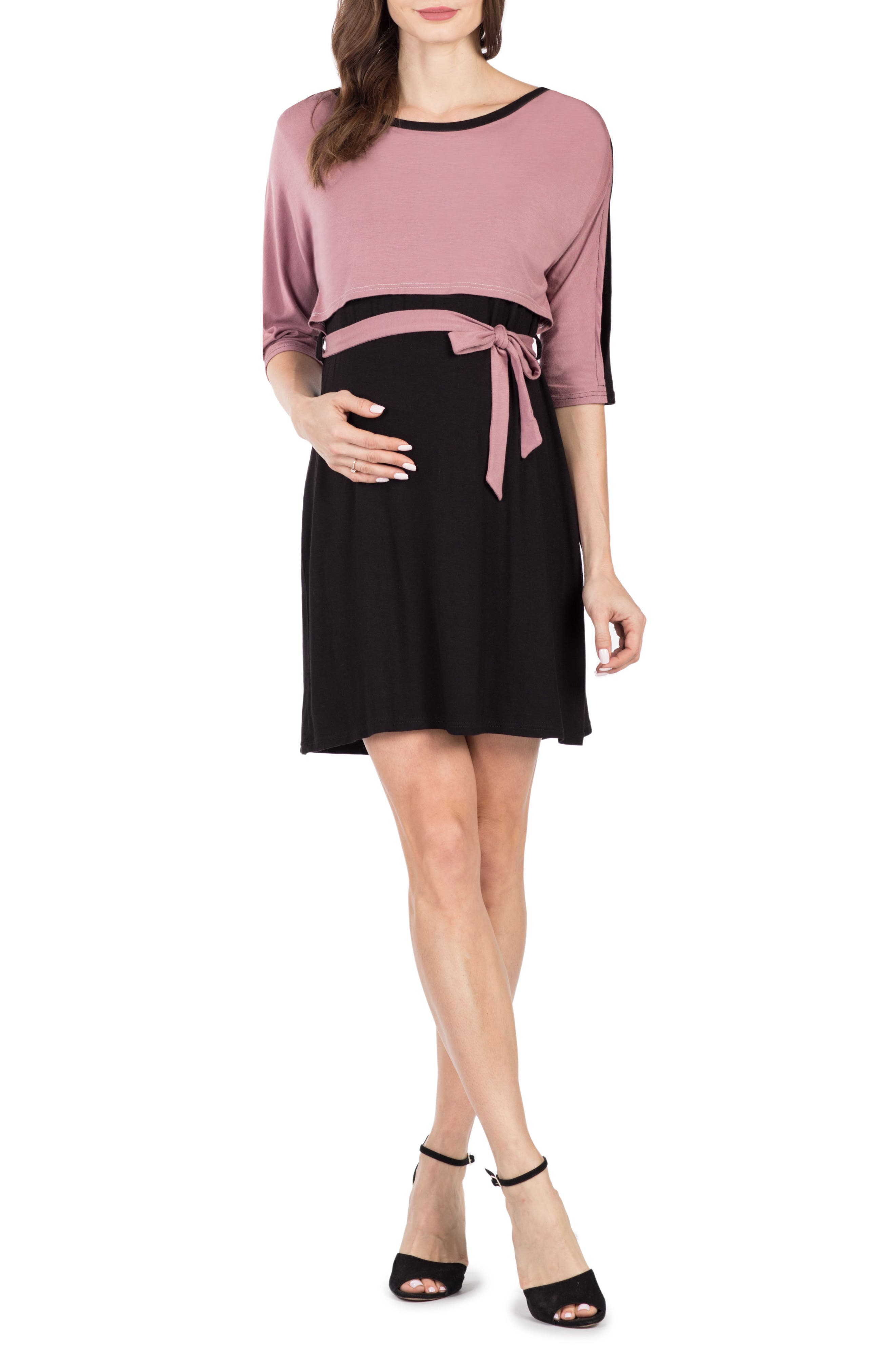 Siena Maternity/Nursing Dress,                             Main thumbnail 1, color,                             BLACK/ MAUVE
