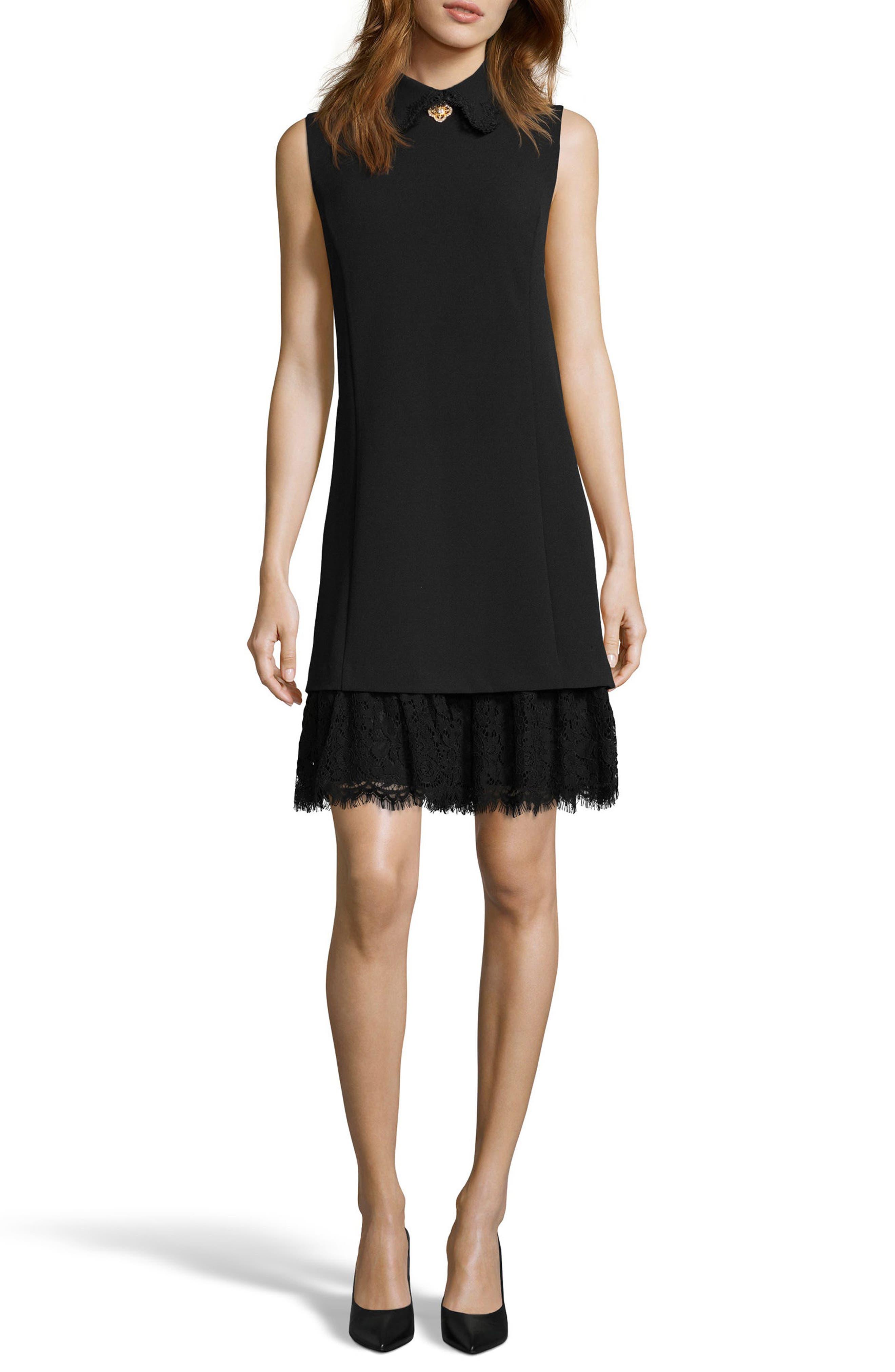 Embellished Crepe Shift Dress,                         Main,                         color, 001