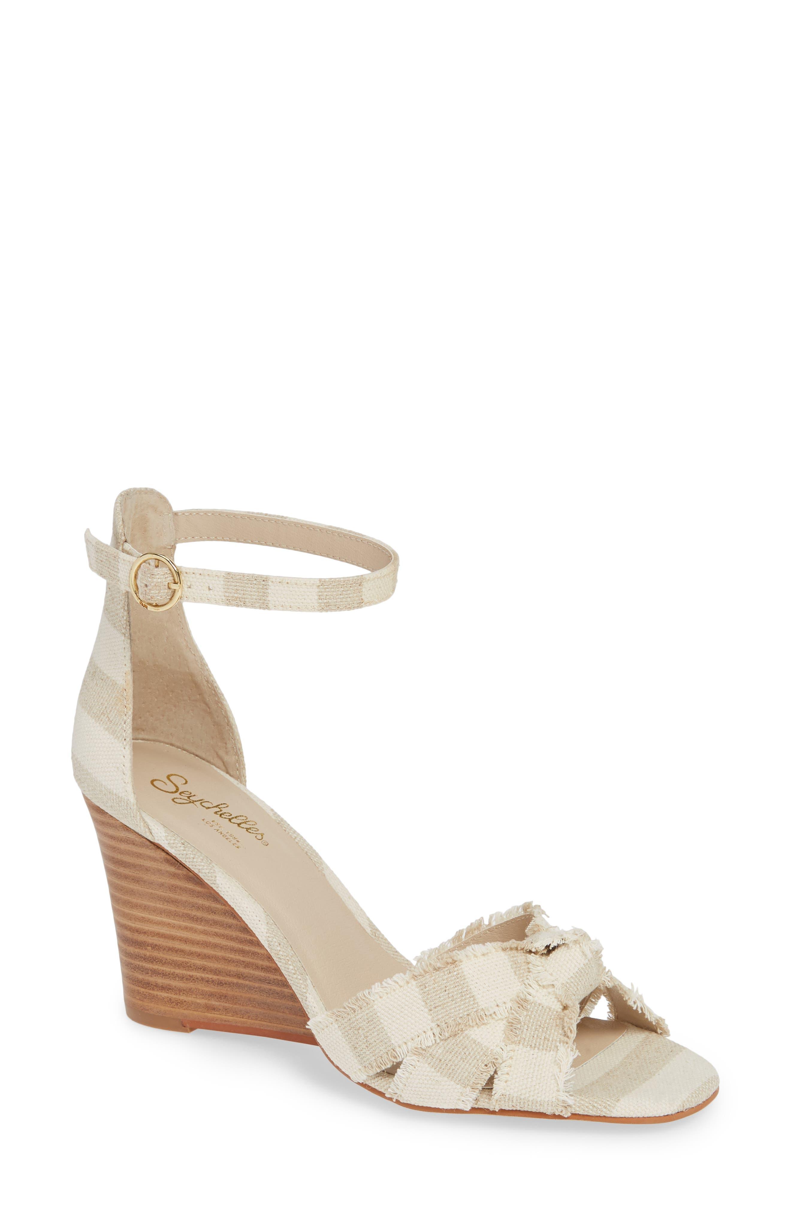 Sunrays Wedge Sandal,                         Main,                         color, NATURAL STRIPE FABRIC
