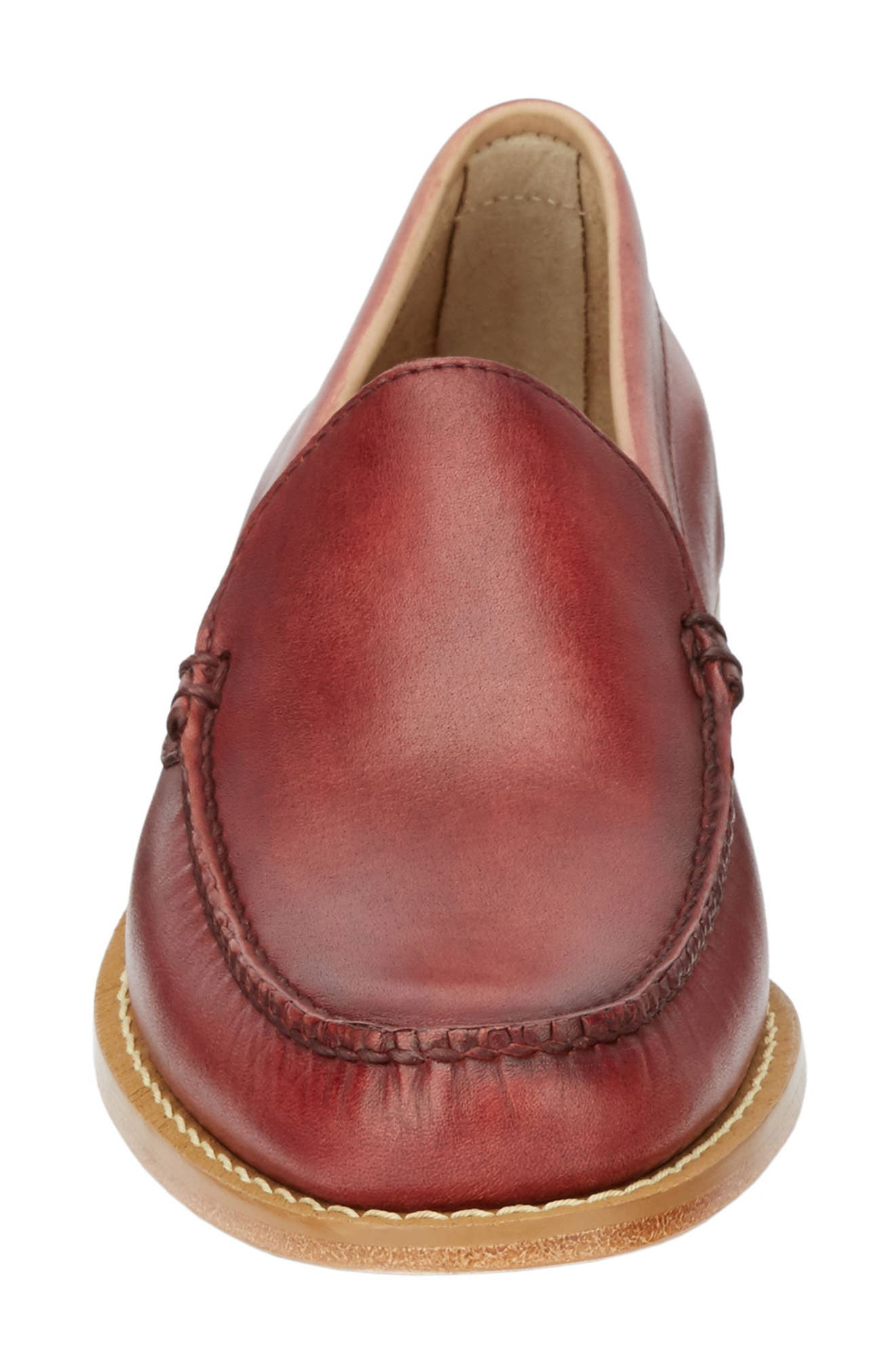 Moc Toe Loafer,                             Alternate thumbnail 4, color,                             RED LEATHER