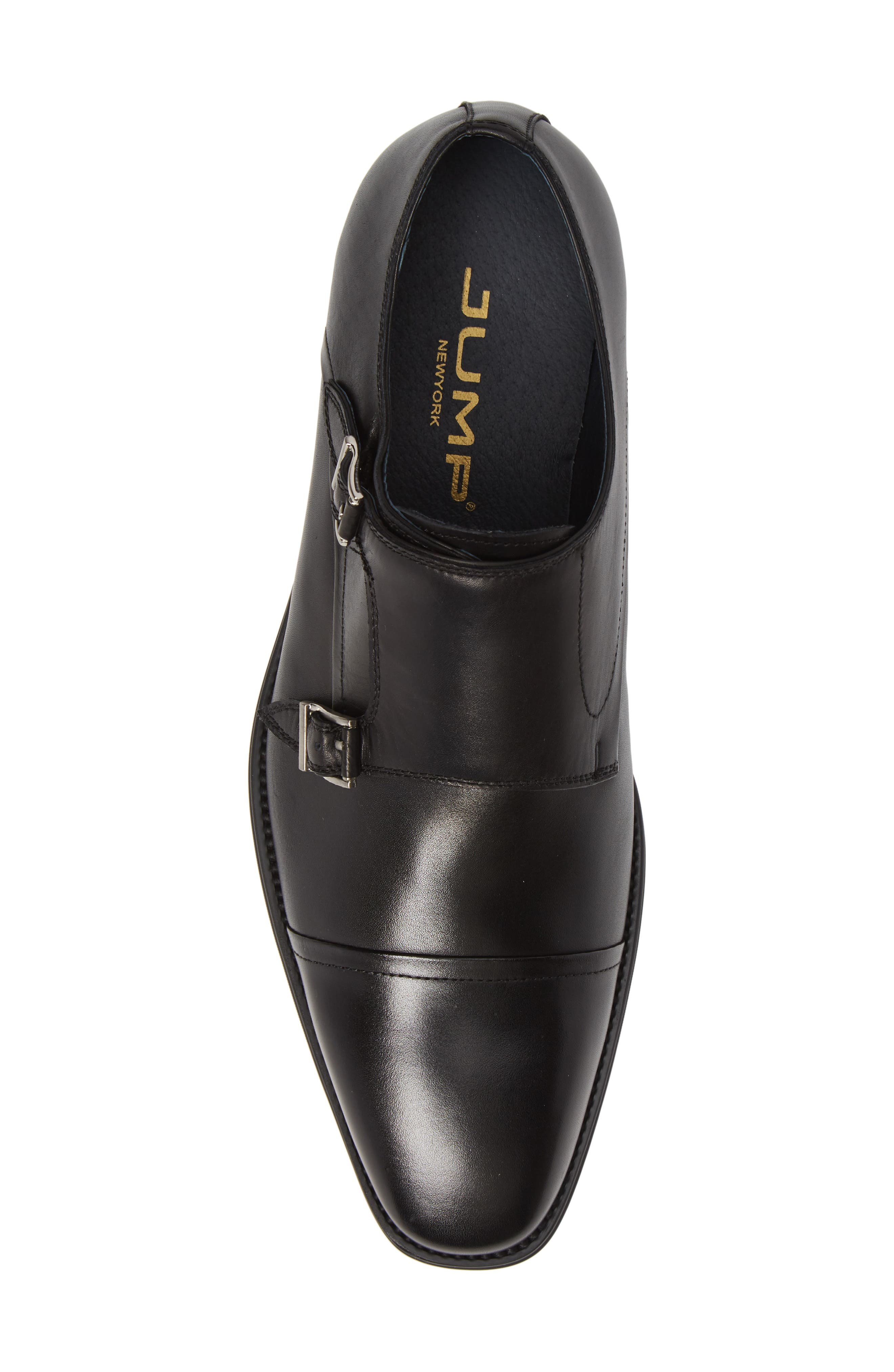 Mario Double Monk Strap Shoe,                             Alternate thumbnail 5, color,                             BLACK LEATHER