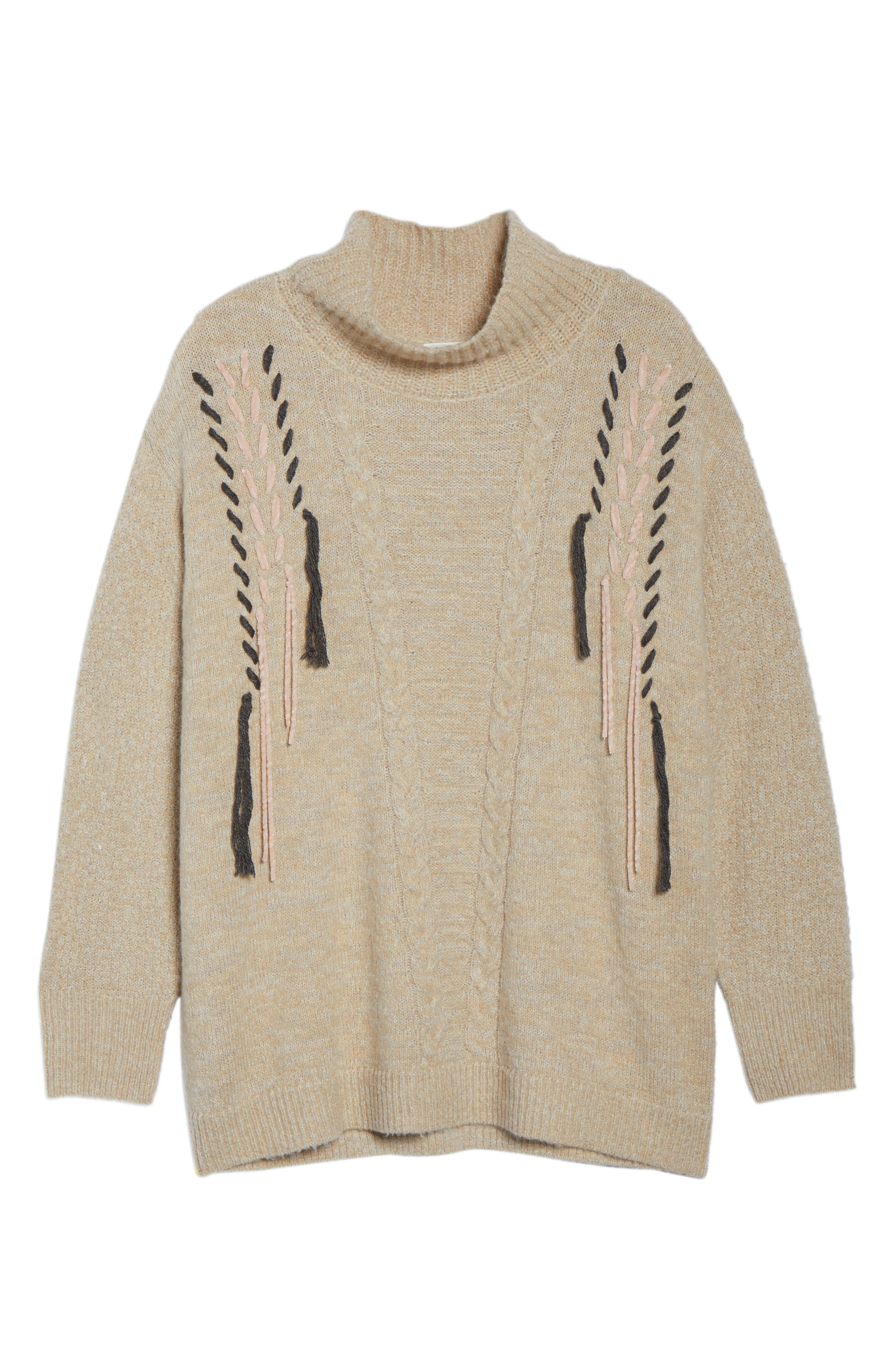 Mock Neck Cable Knit Sweater,                             Alternate thumbnail 6, color,                             230