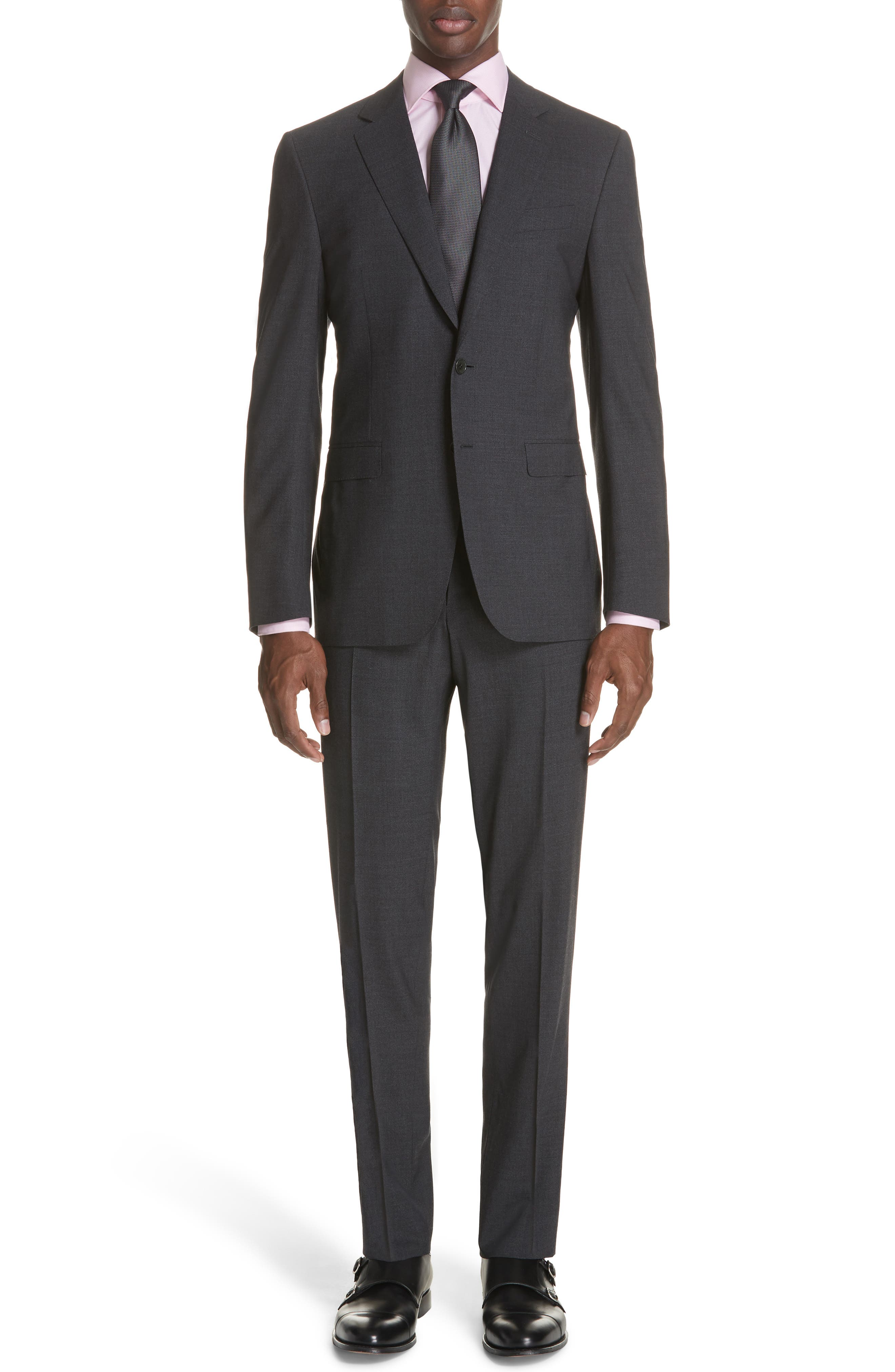 Classic Fit Stretch Solid Wool Suit,                             Main thumbnail 1, color,                             CHARCOAL