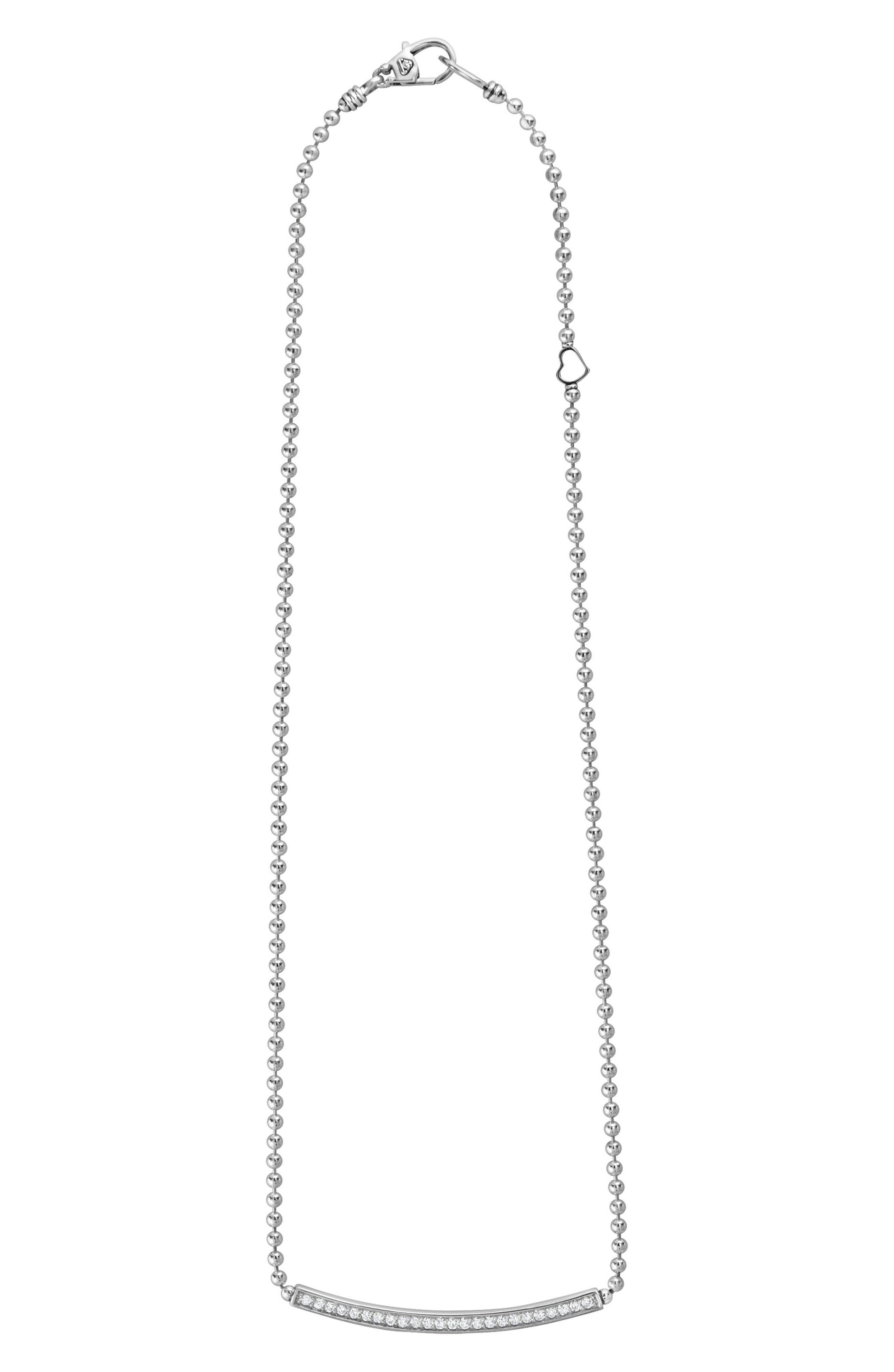 Caviar Spark Diamond Bar Necklace,                         Main,                         color, SILVER/ DIAMOND