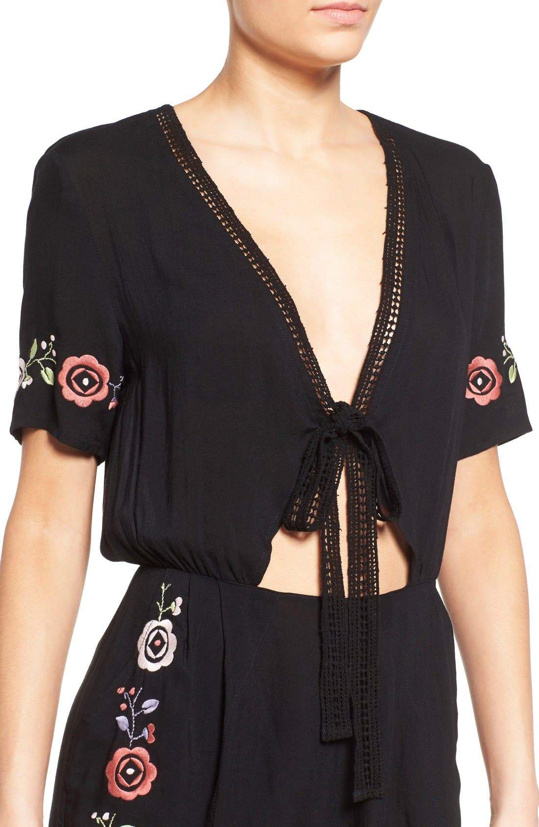 'Wide Eyes' Embroidered Romper,                             Alternate thumbnail 4, color,                             001
