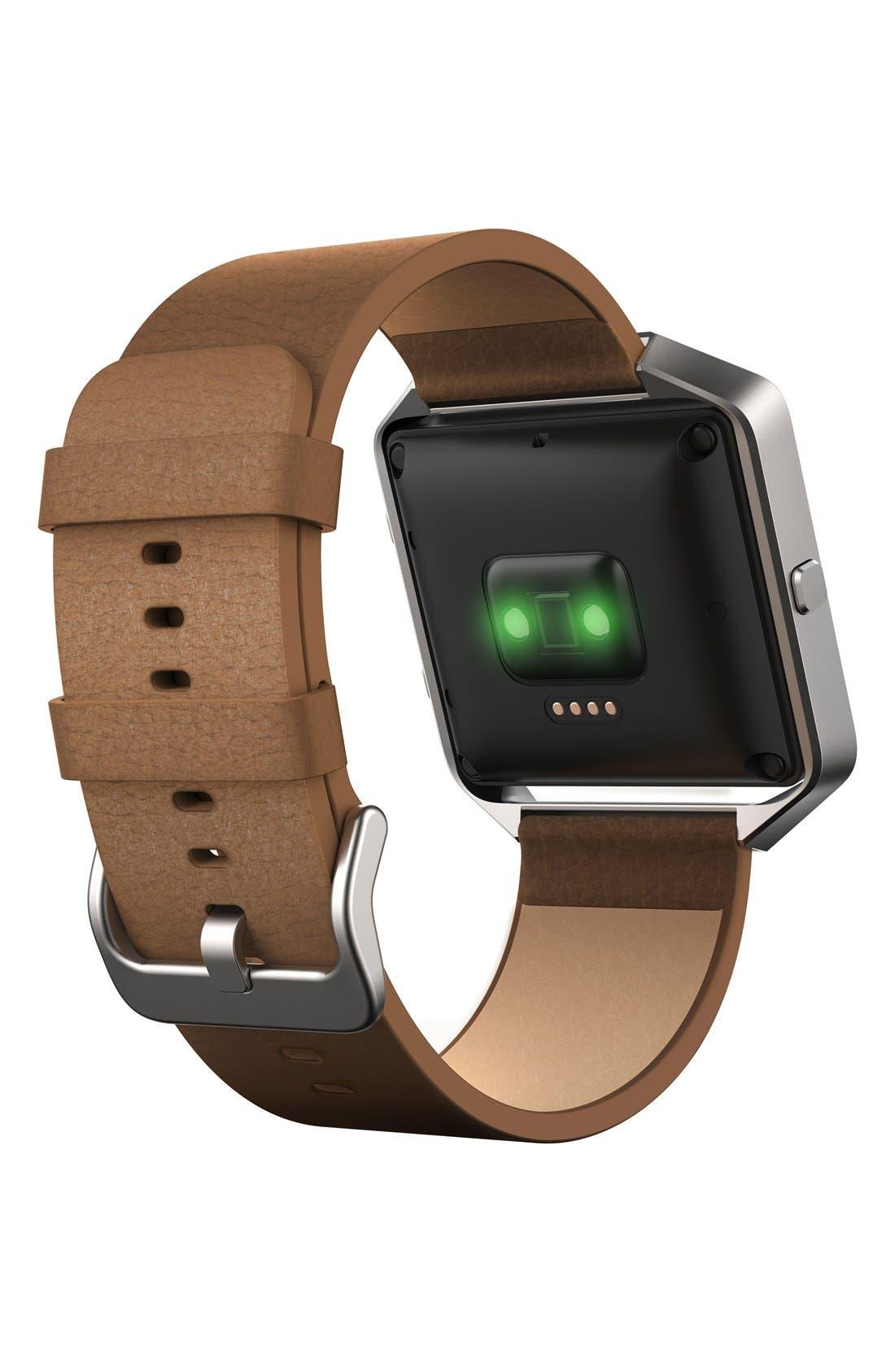 Blaze Leather Smart Watch Band,                             Alternate thumbnail 6, color,                             250